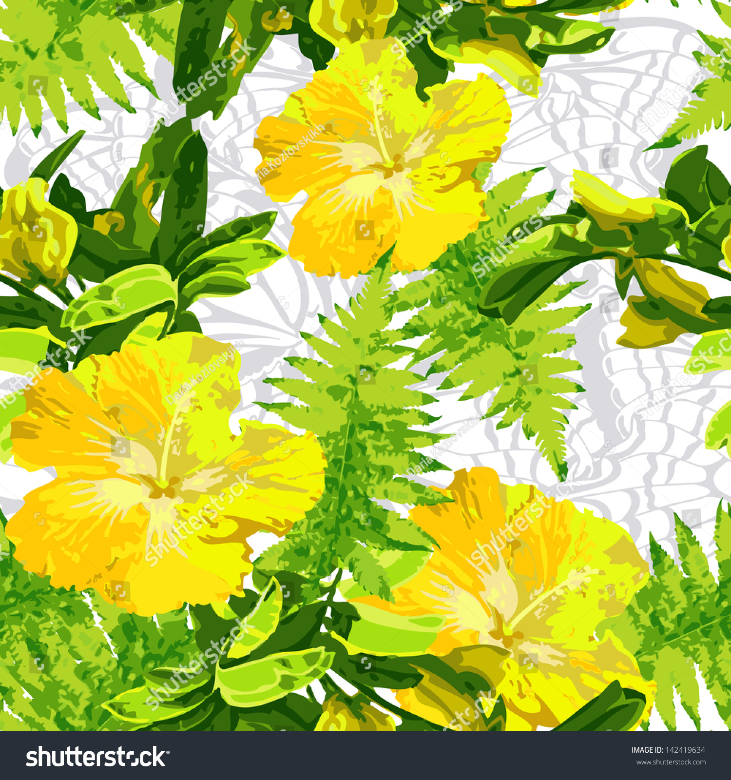 Exotic Yellow Flowers Stock Vector Royalty Free 142419634