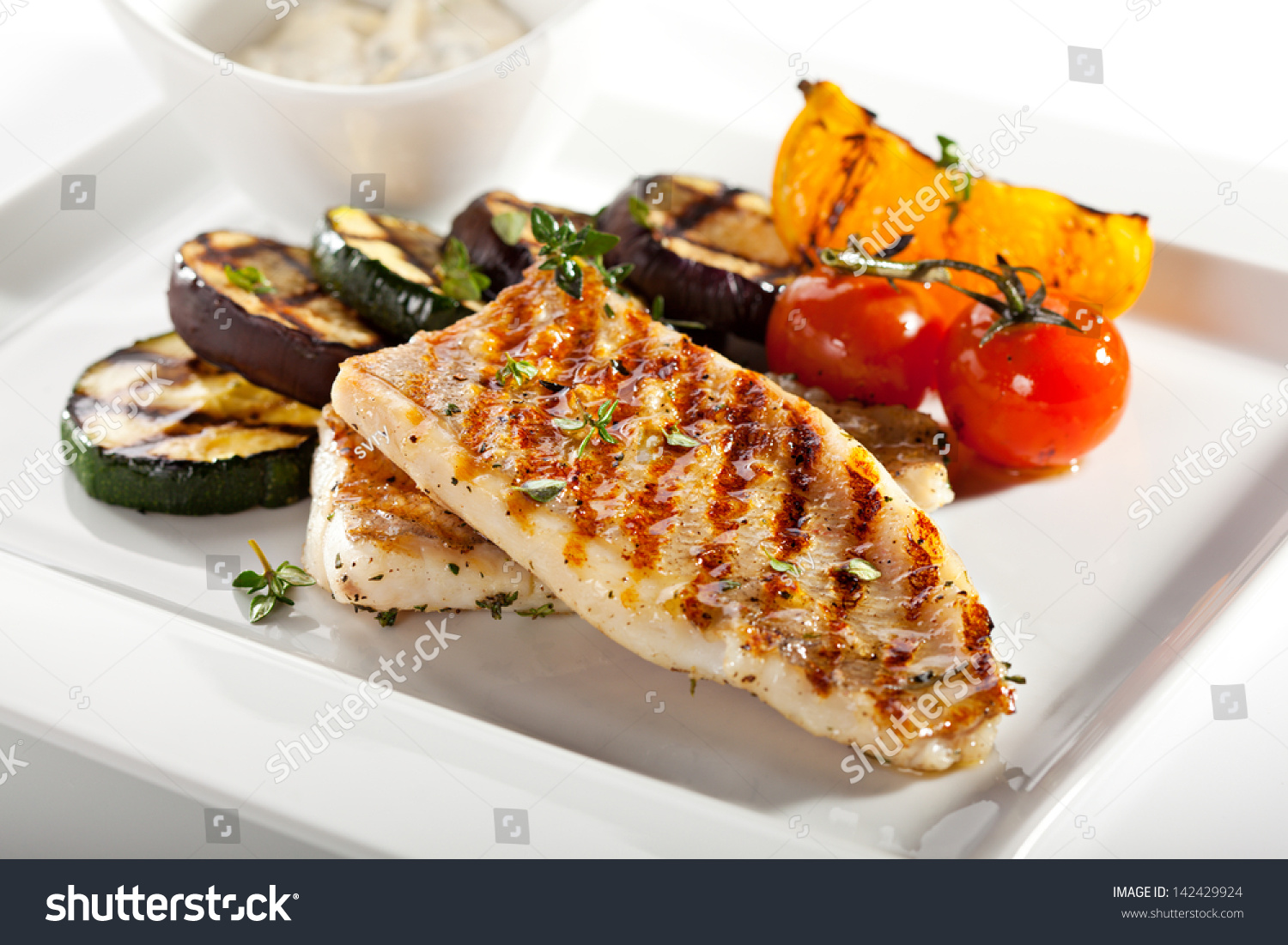 Grilled Fish Fillet With Bbq Vegetables Stock Photo 142429924 ...
