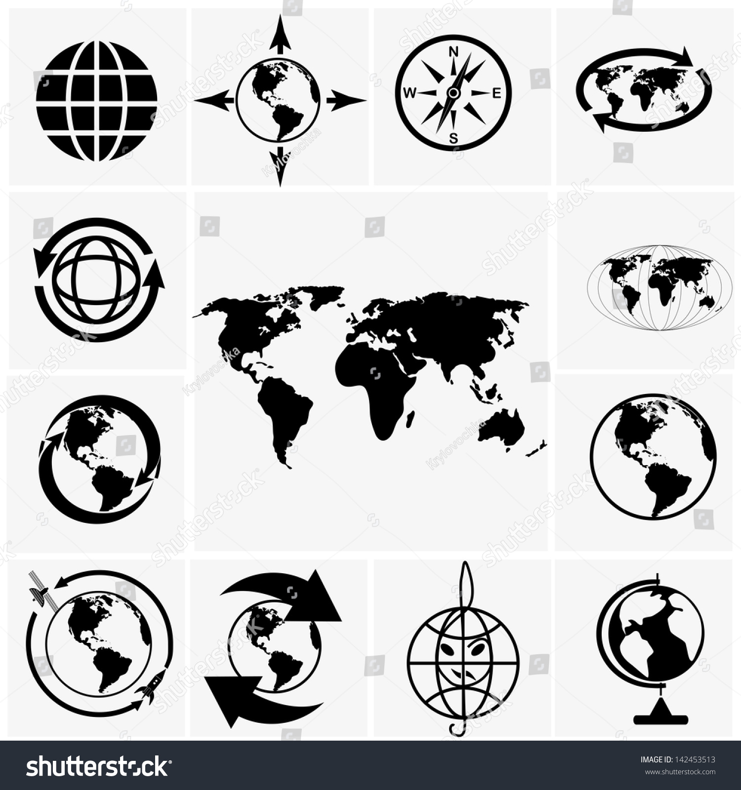 Globe world map icons on gray vector de stock142453513 shutterstock globe and world map icons on gray gumiabroncs Image collections