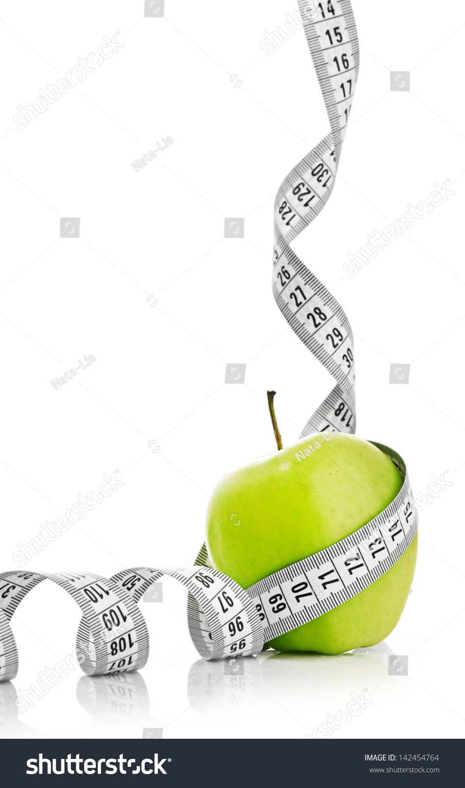 Measuring Tape Wrapped Around Green Apple Stock Photo Royalty Free