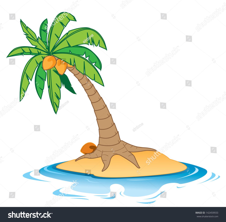 cartoon illustration coconut tree on small stock vector 142459933