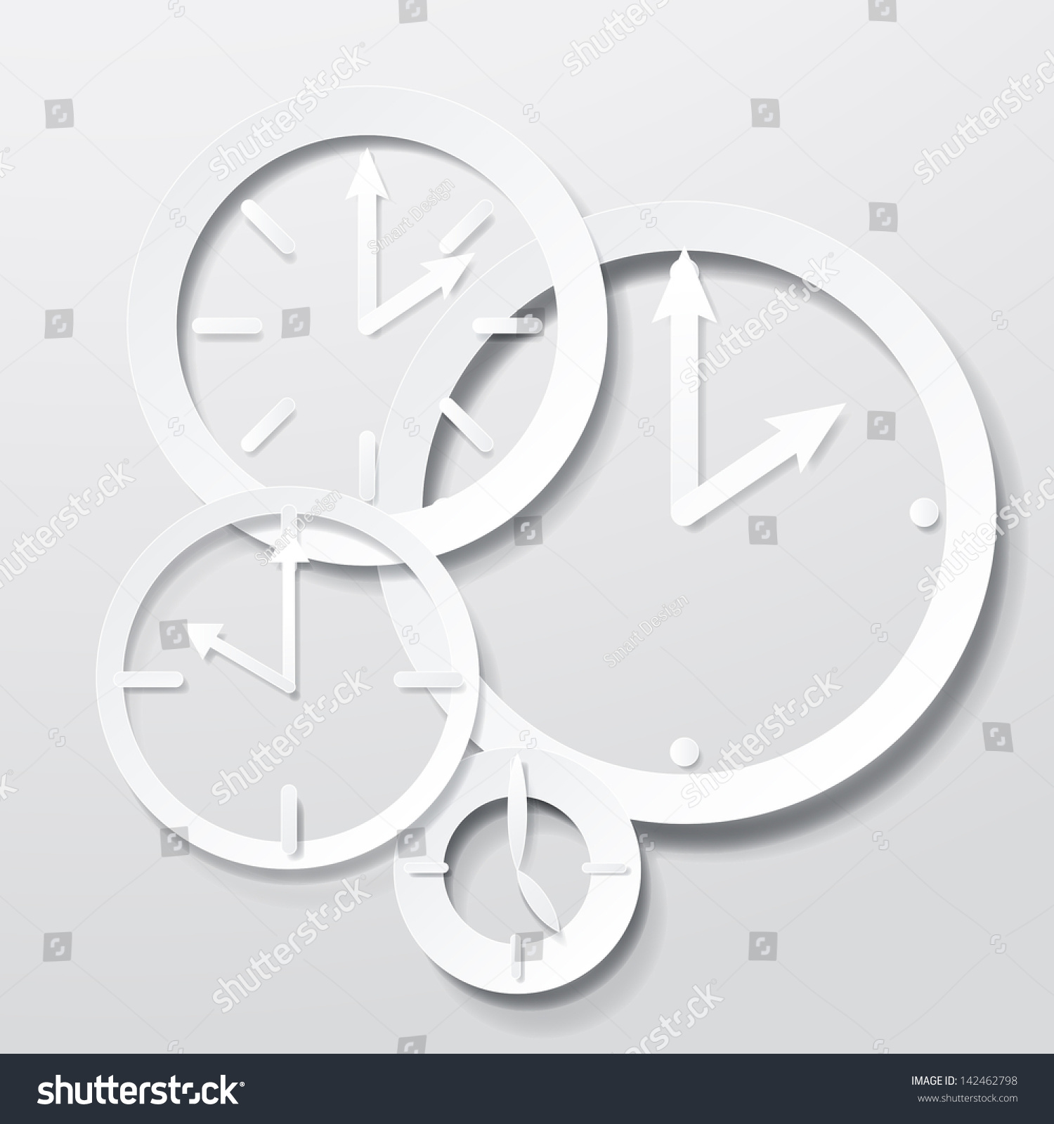 3d Paper Clock Icons Set Isolated Stock Vector 142462798 ...