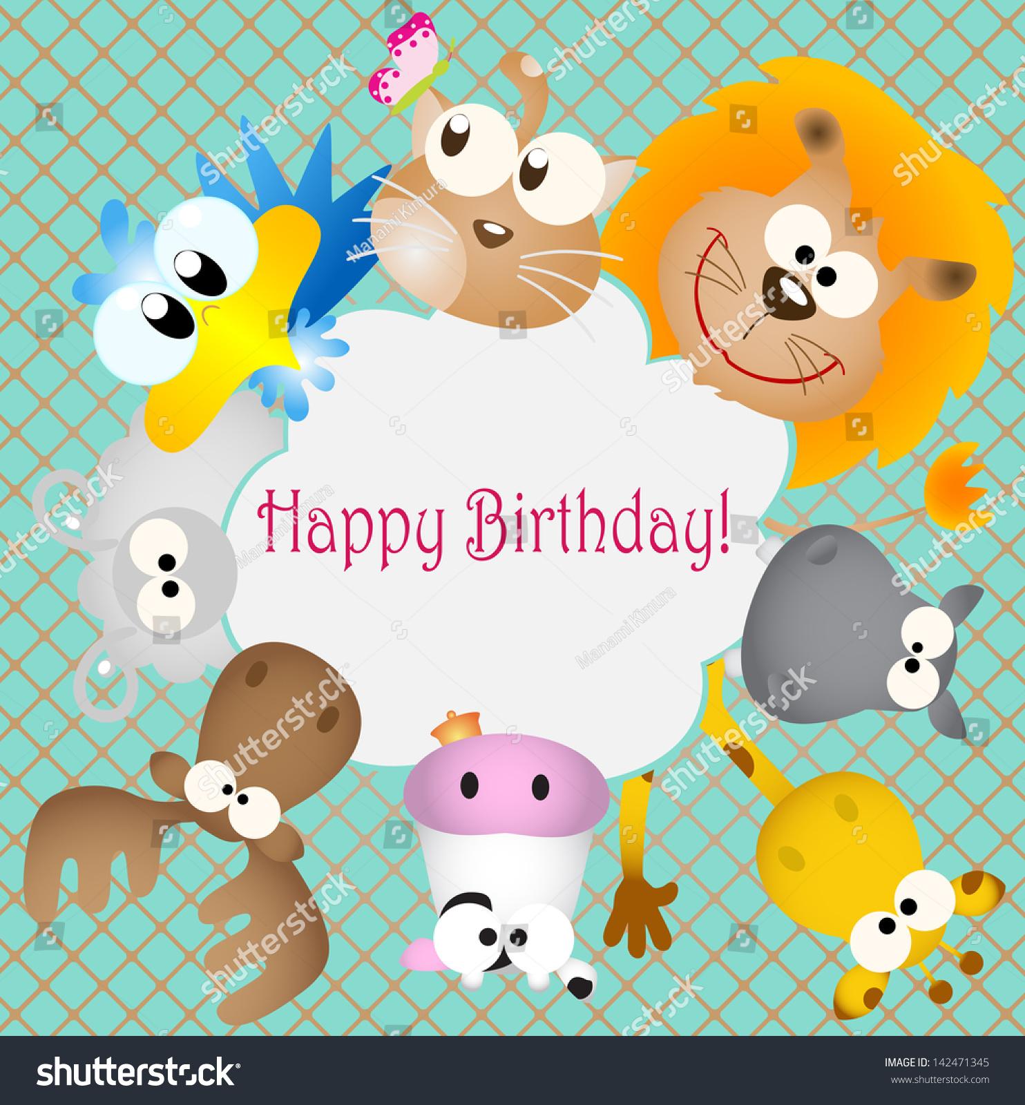 Vector Illustration Birthday Card Animal Bug Stock Vector