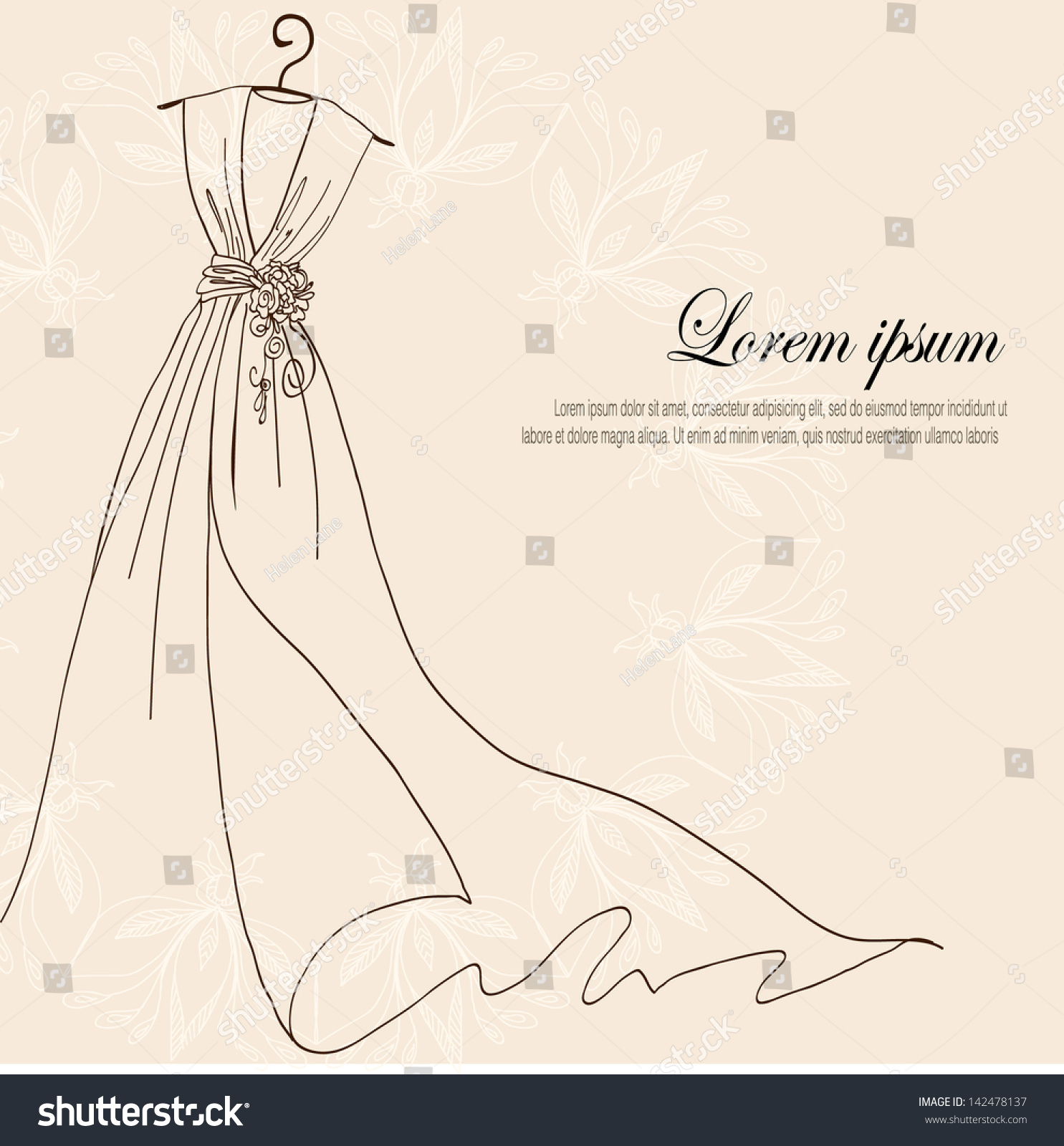 Invitation decorated with wedding dress on a hanger on vintage background