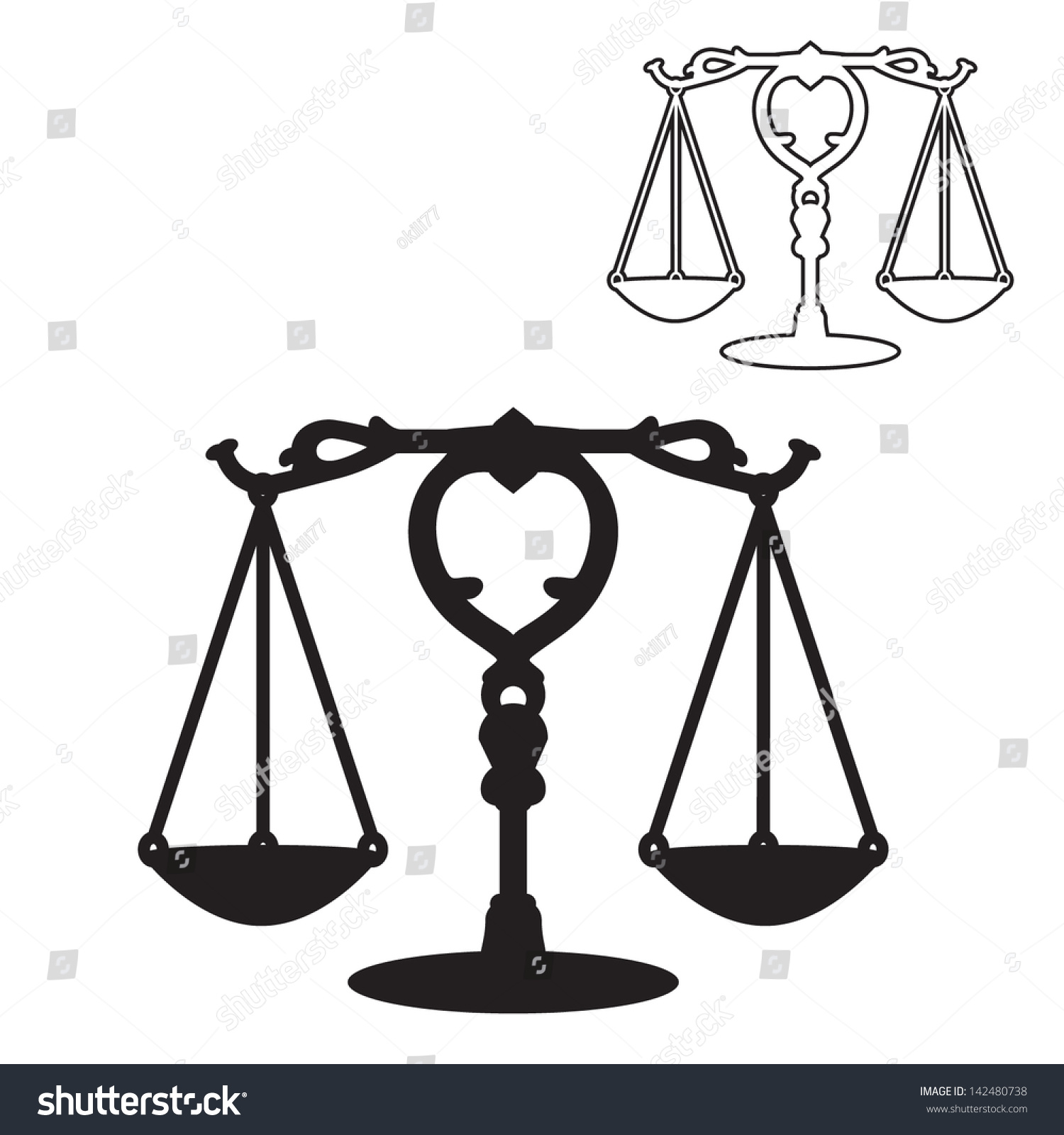 Scales justice symbol silhouette outline vector stock vector scales of justice symbol silhouette and outline vector biocorpaavc Choice Image