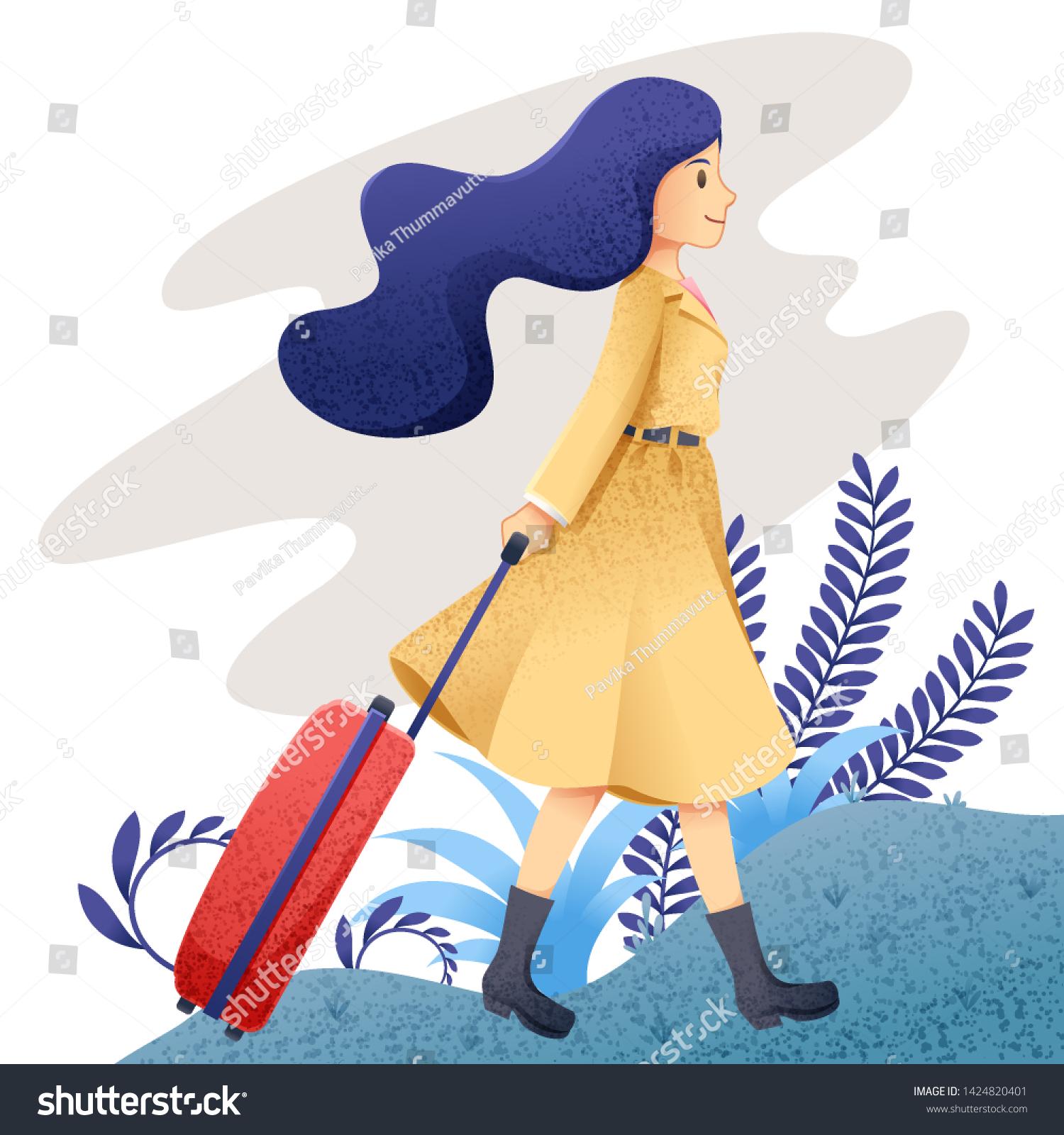 Alone Cartoon Girl woman travel alone character cartoon woman stock vector