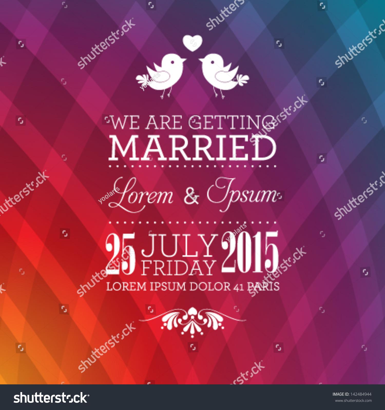 Vector Wedding Invitation Card Template Perfect Stock Vector ...