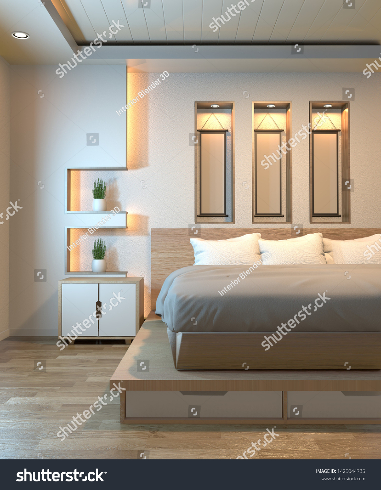 Modern Zen Peaceful Bedroom Japan Style Stock Illustration 1425044735