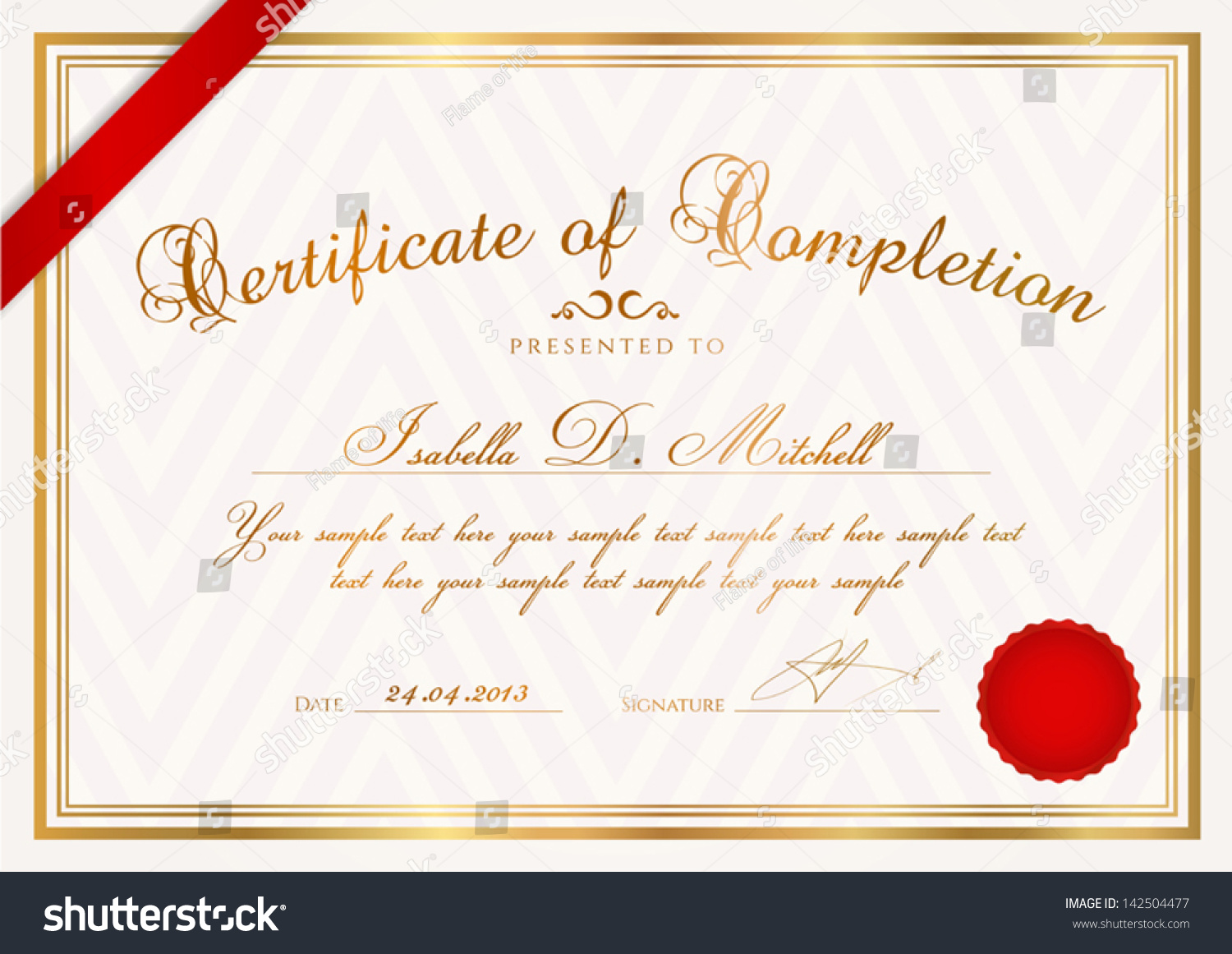 Certificate diploma of completion design template sample certificate diploma of completion design template sample background with abstract pattern gold border ribbon wax seal useful for certificate of yelopaper Images