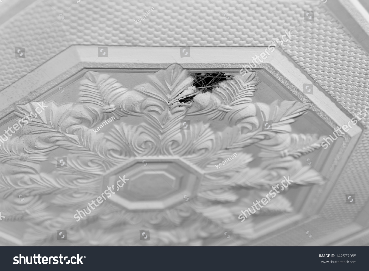 Hole Leaking Ceiling Tiles With Flower Pattern, Which Has Been Damaged By  Rain Drops.