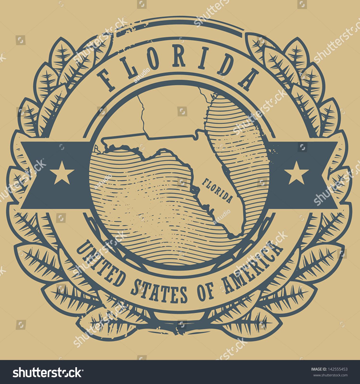 Grunge Rubber Stamp Name Map Florida Stock Vector - Florida usa map