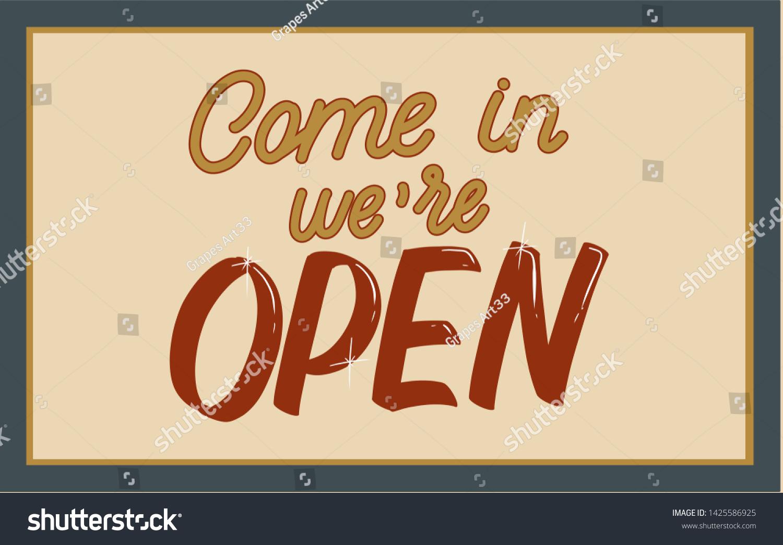 Retro Color Illustration Door Sign Cafe Stock Illustration 1425586925