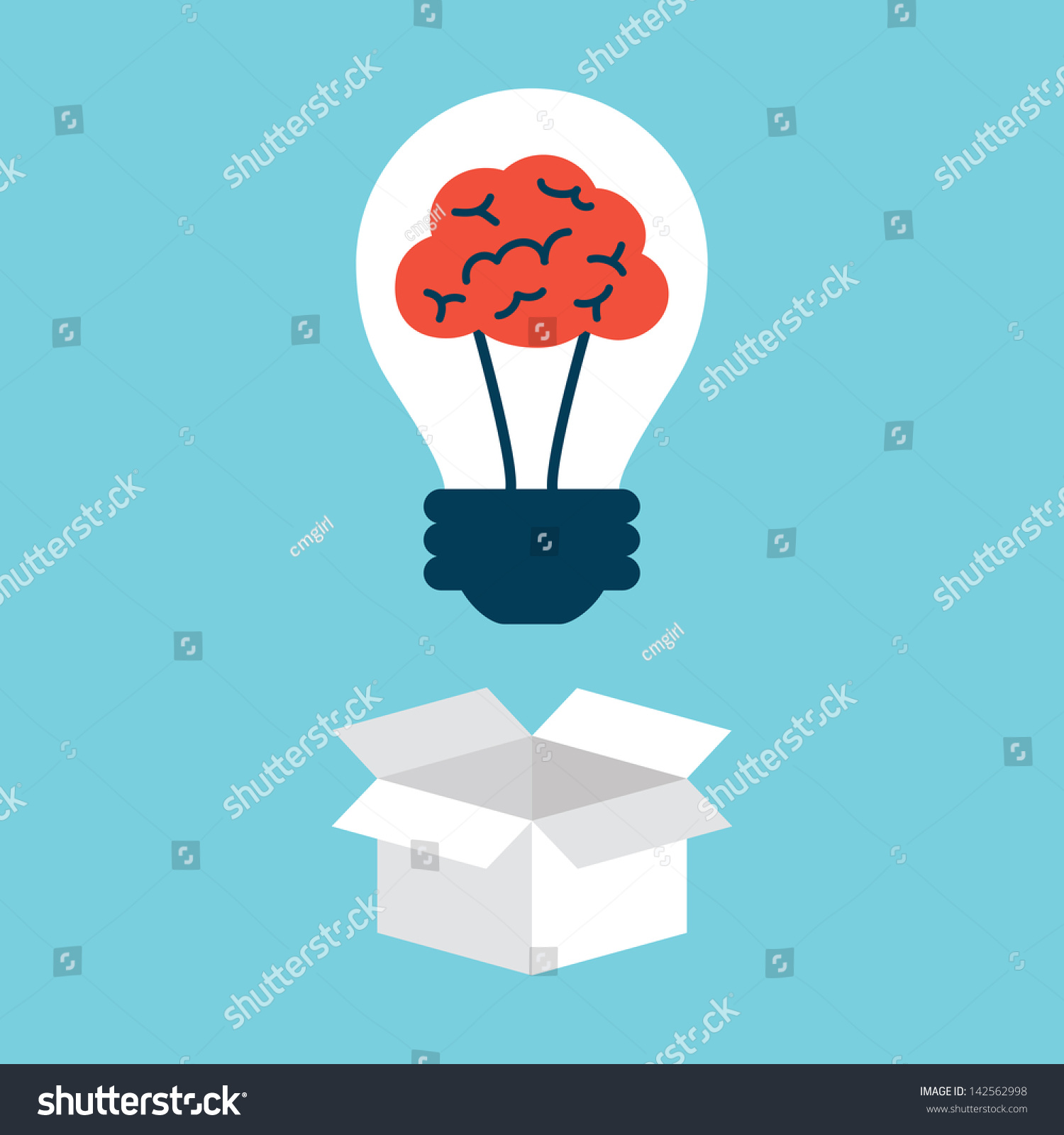 Light Bulb With Brain, Thinking Outside The Box Stock