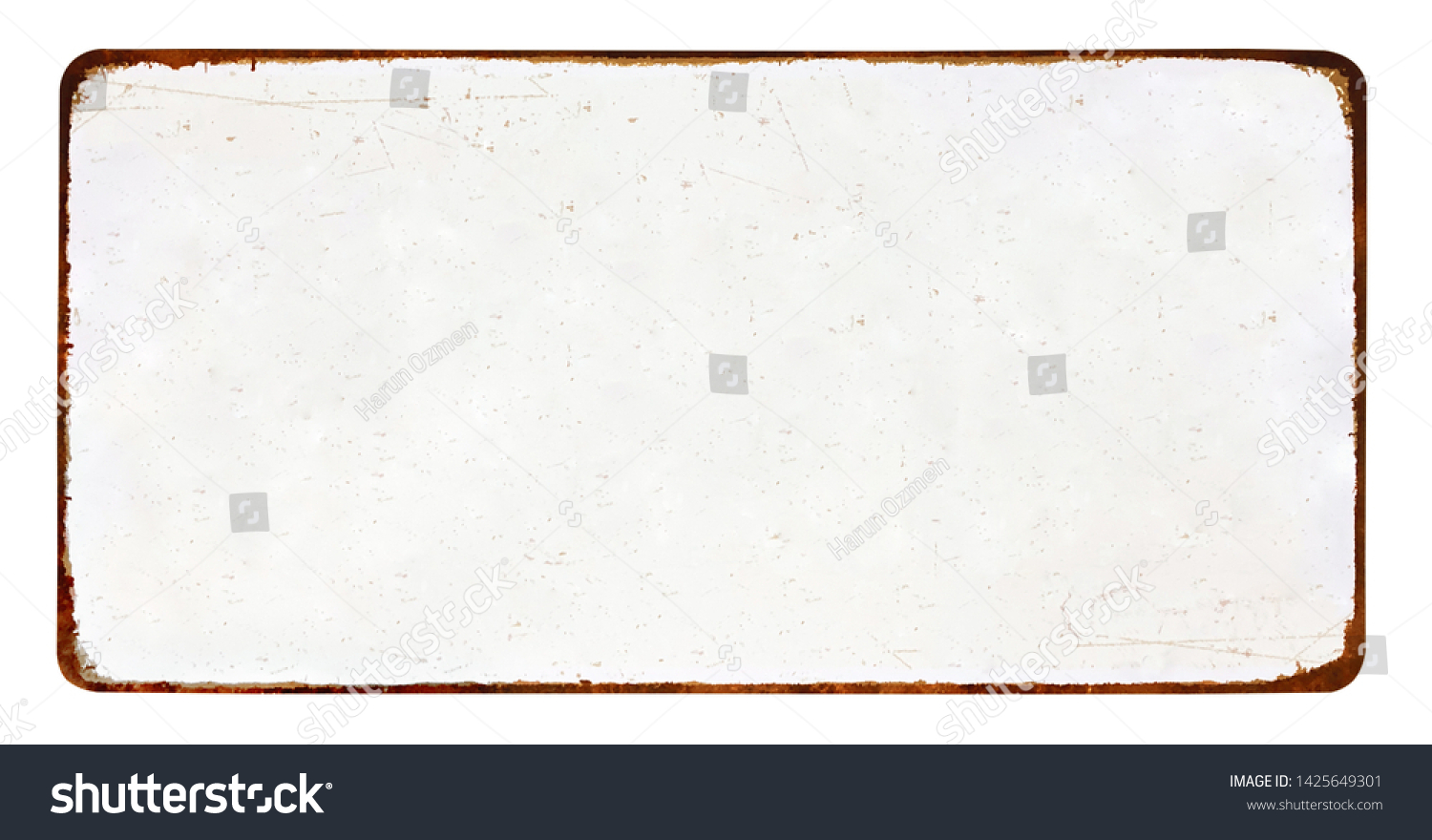 Antique vintage rusty enameled grunge metal sign or panel mockup or muck up template isolated on white background #1425649301
