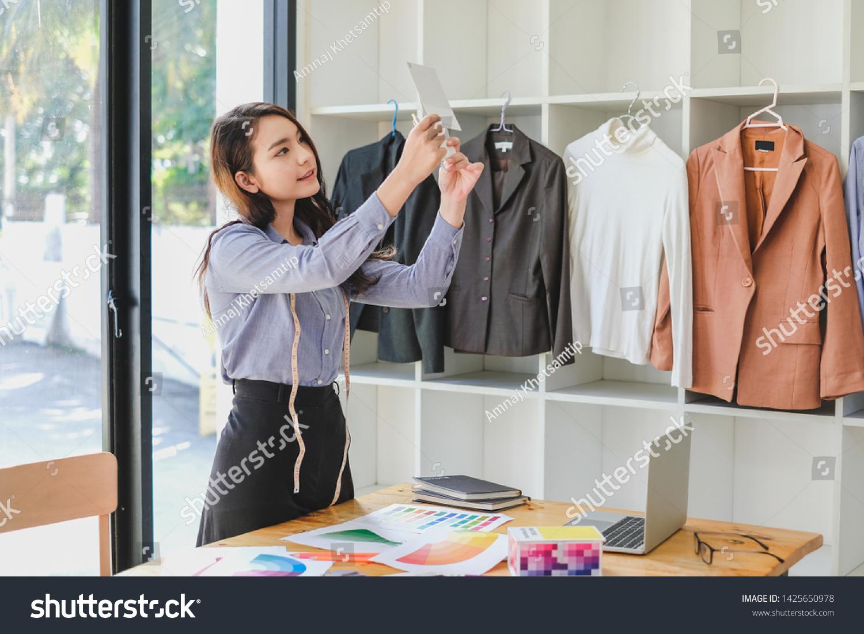Asian Woman Fashion Designer Work Home Stock Photo Edit Now 1425650978