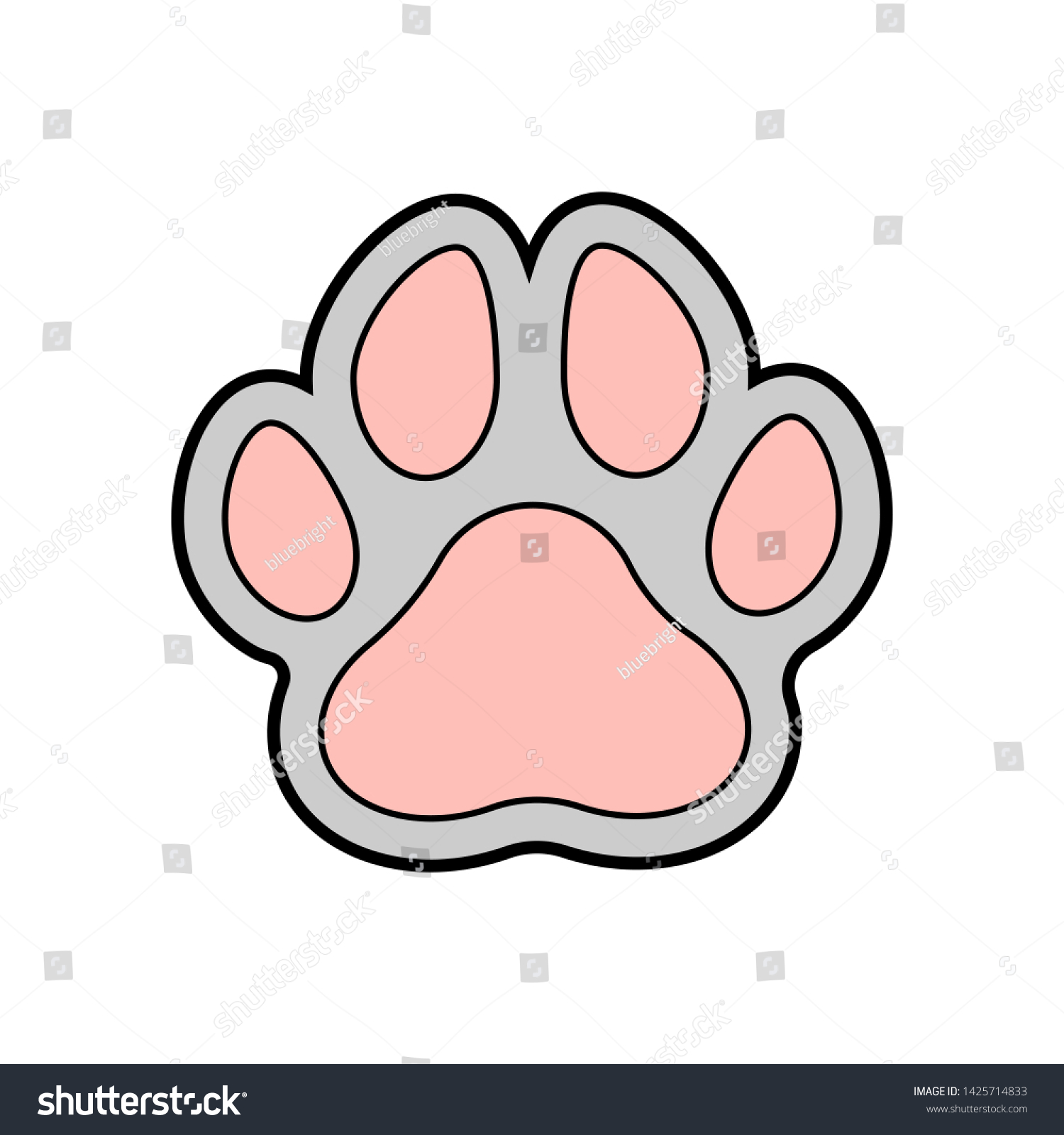 Color Illustration Cat Paw Print Isolated Stock Vector Royalty Free 1425714833