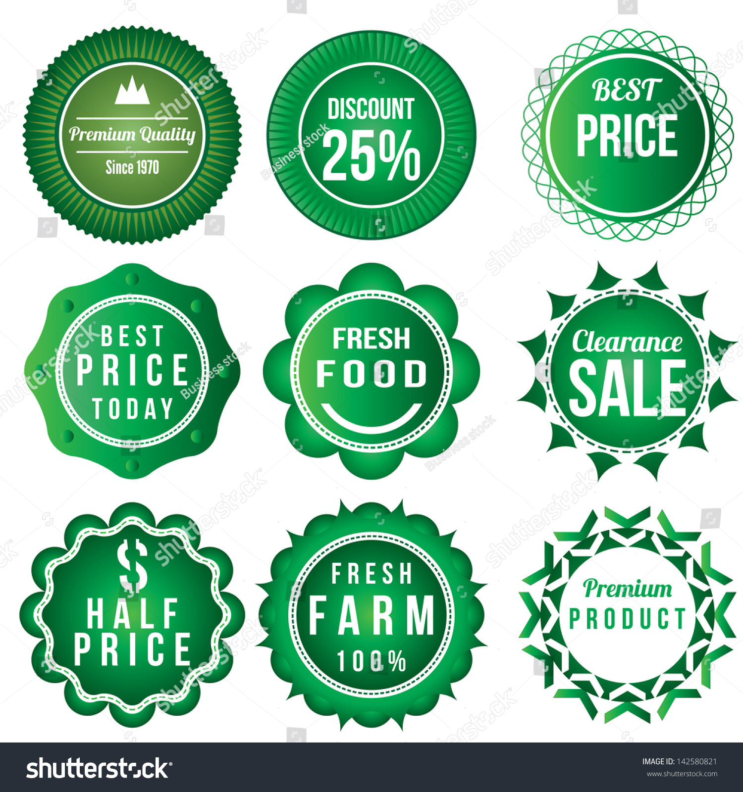 Fresh Food Product Vintage Labels Template Set. Green Theme. Retro Badge  Logo Template Design