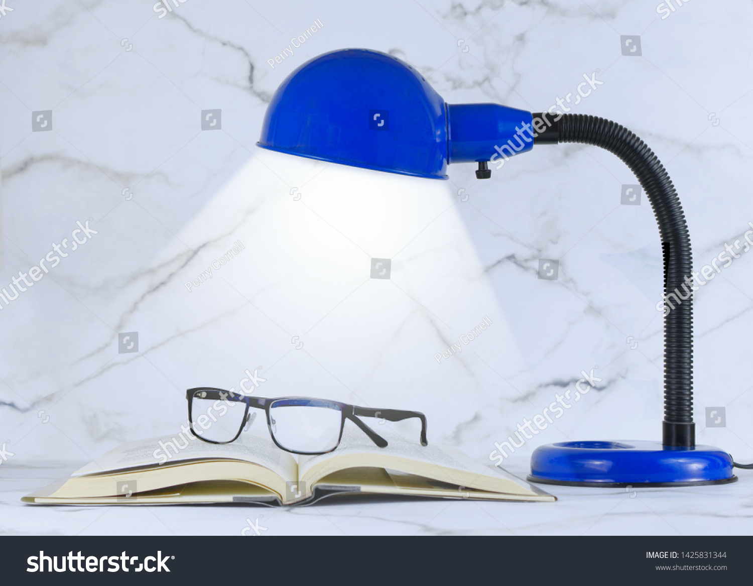 stock-photo-a-blue-personal-sized-desk-l