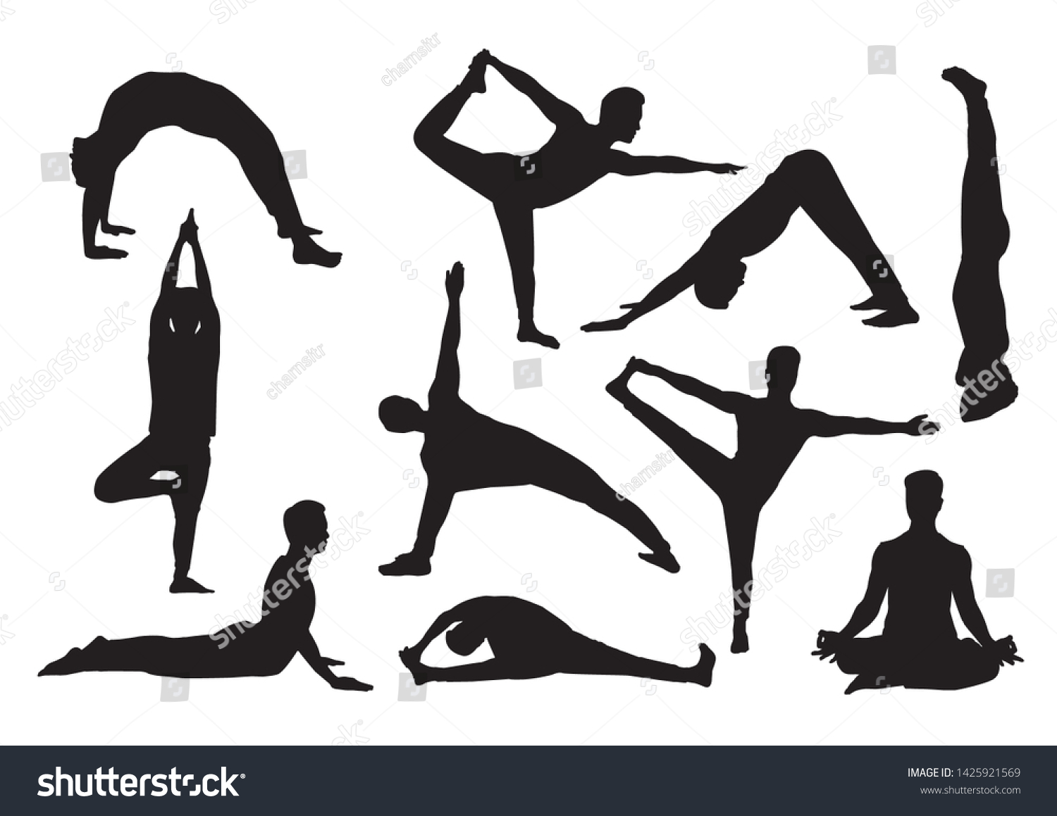 Isolated Silhouette Man Yoga Posture Stock Vector Royalty Free 1425921569