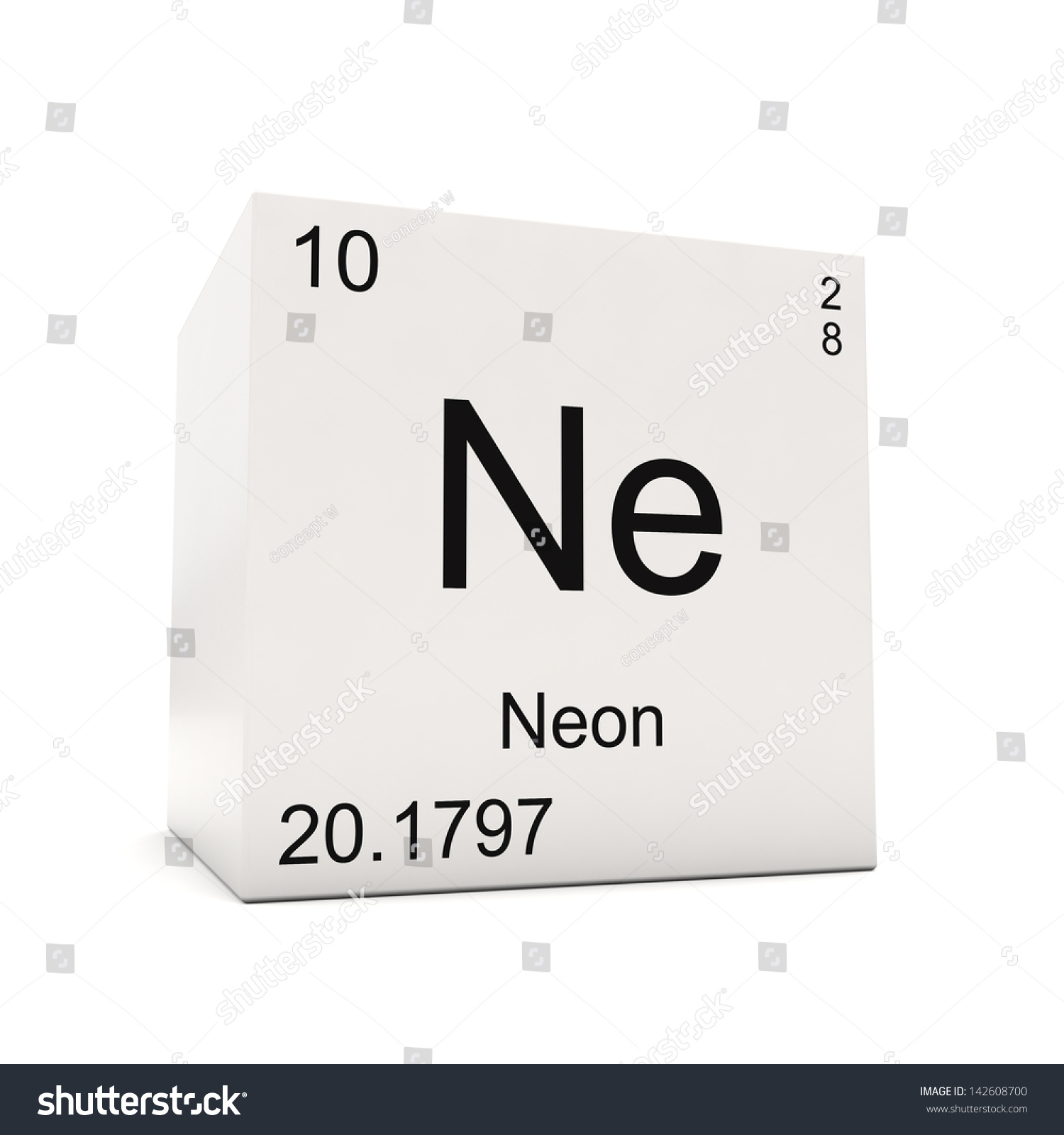 Cube neon element periodic table isolated stock illustration cube of neon element of the periodic table isolated on white background gamestrikefo Gallery