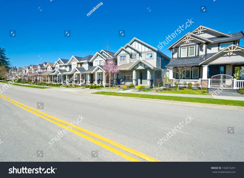 Great Neighborhood. Row Of The Houses, Homes On Empty ...