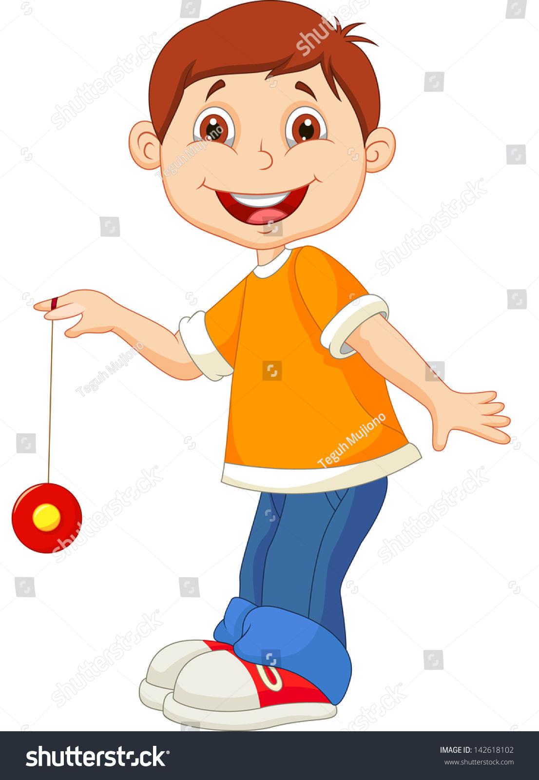 Young Boy Playing Yo Yo Stock Vector 142618102 - Shutterstock for Clipart Yoyo  111bof