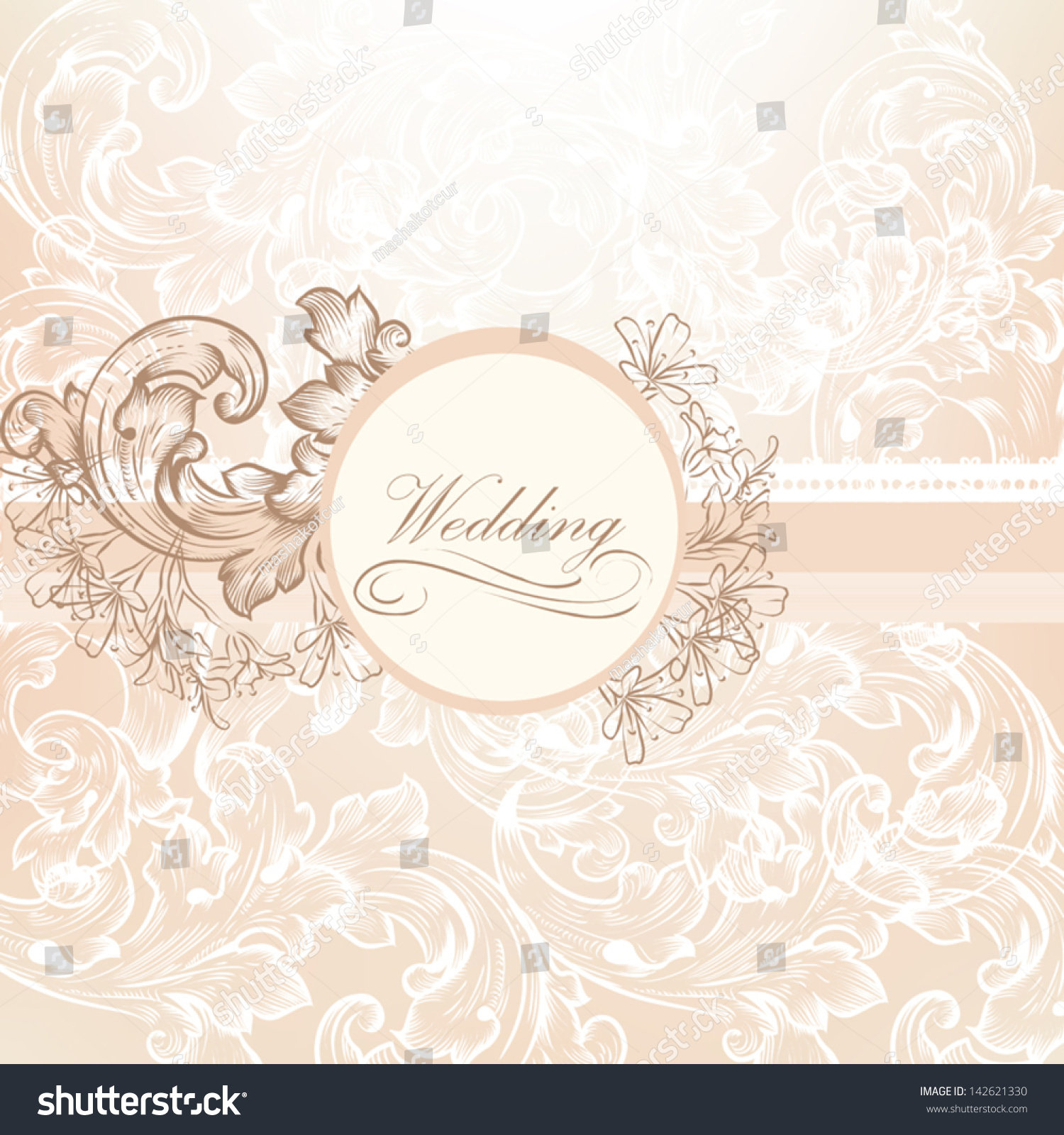 Cute Wedding Background Pink Purple Colors Stock Vector 142621330 ...
