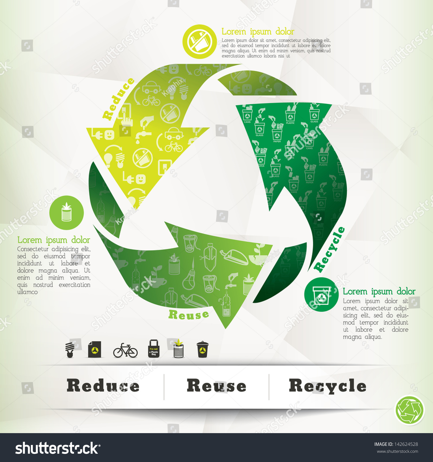 Illustration Recycle Symbol Eco Icons Reduce Stock Vector Royalty