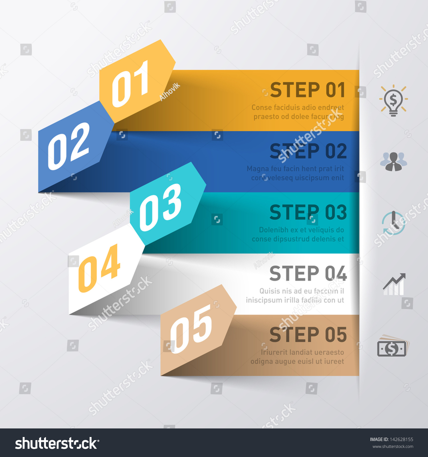 Abstract Business Process Infographics Template Vector Stock ...