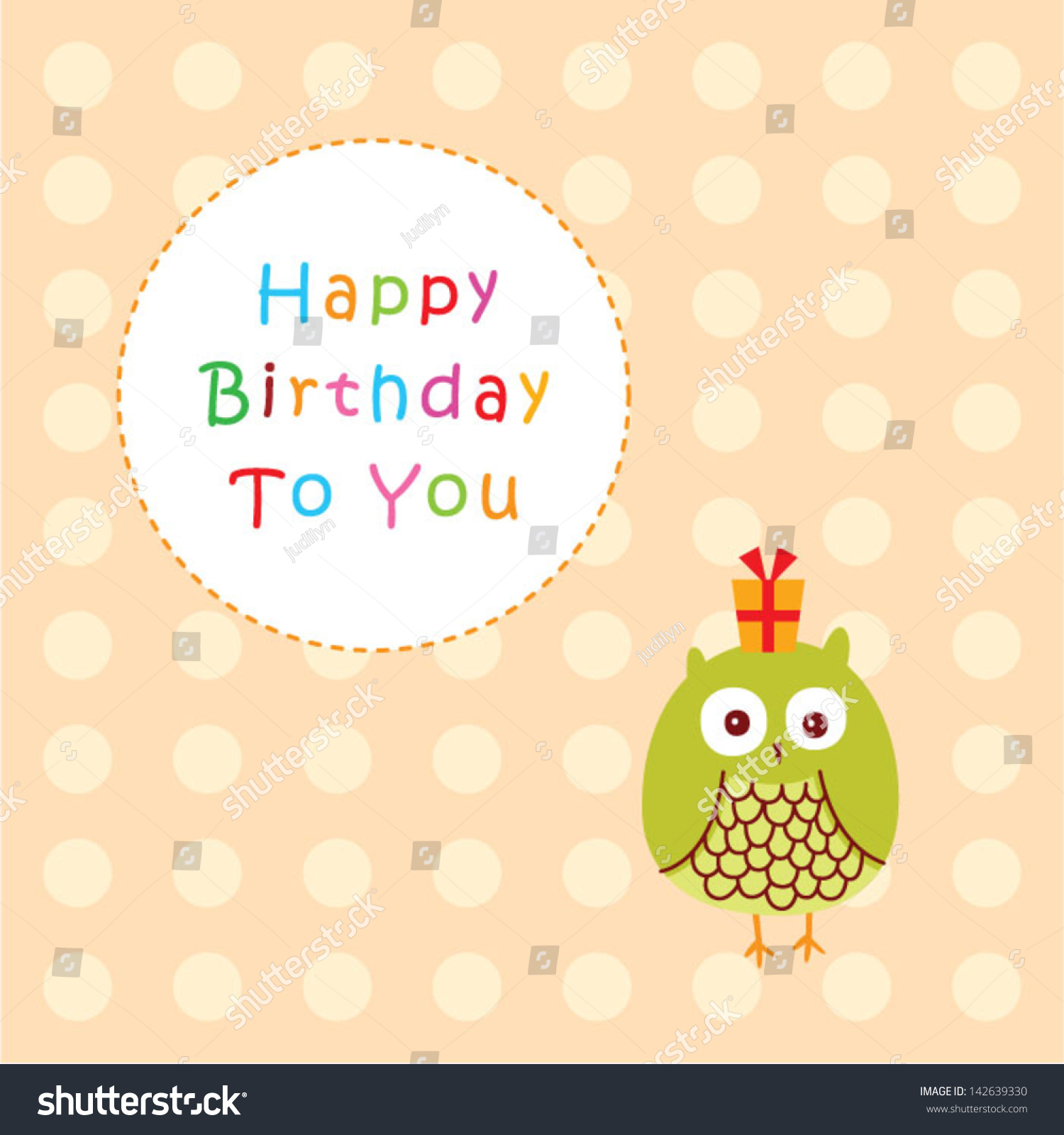Cute Little Owl Birthday Greeting Stock Vector 142639330 Shutterstock