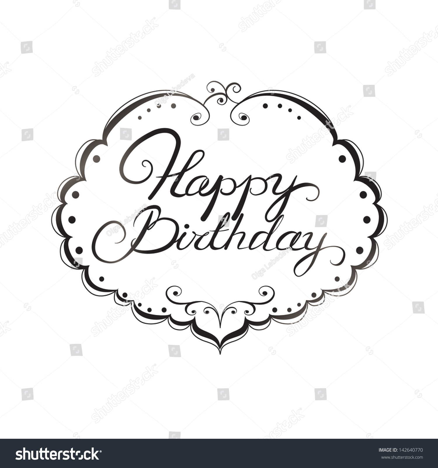 Happy birthday sign in elegant black script type with ornament - Happy Birthday Lettering Black And White Pattern