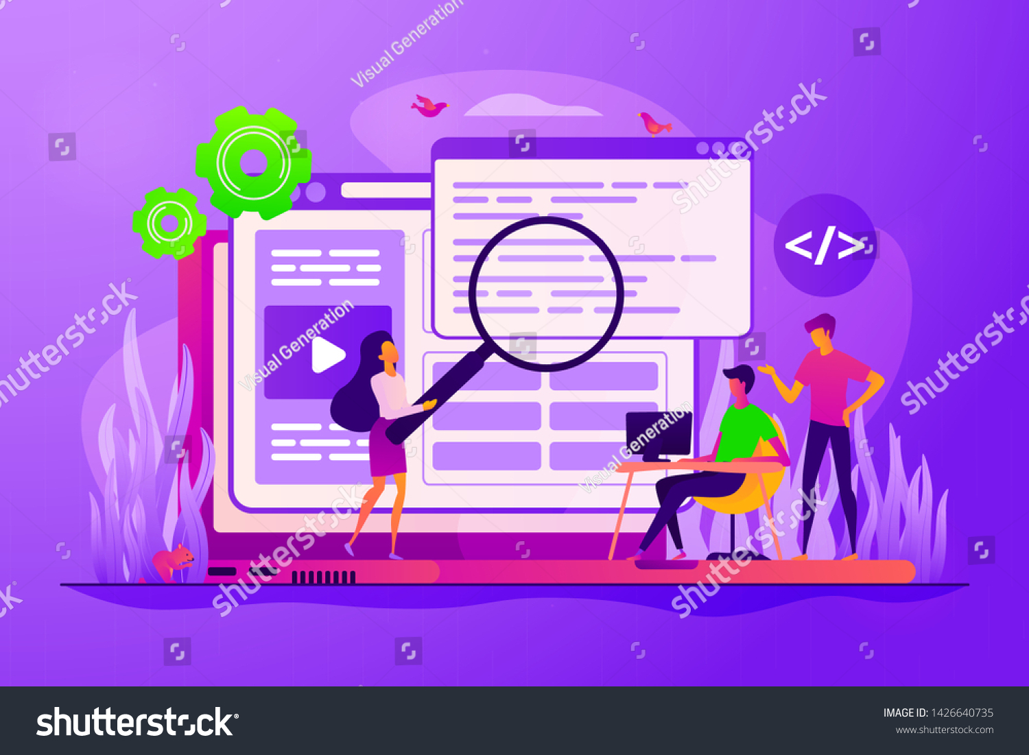 Coders Programmers Team Web Designers Characters Stock Vector Royalty Free 1426640735