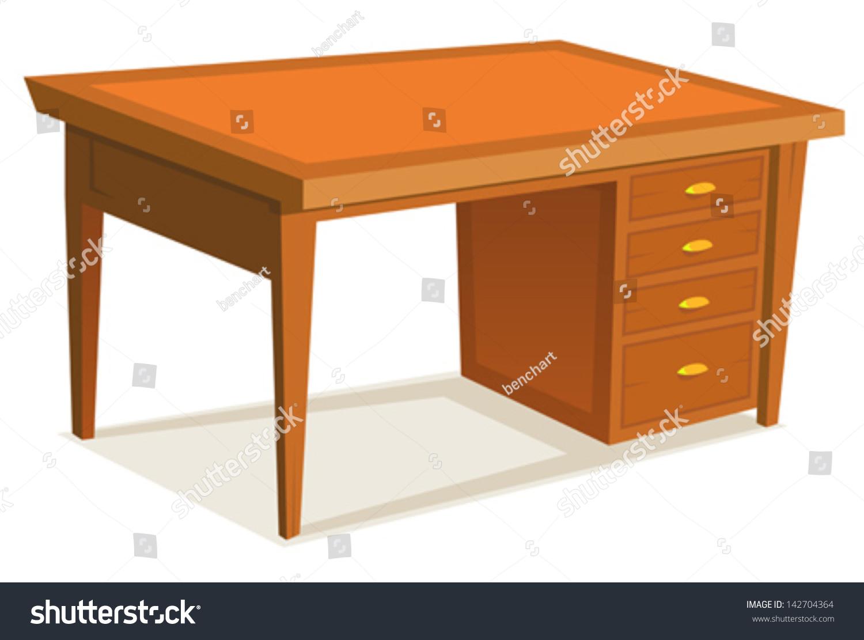 cartoon office desk illustration cartoon wooden stock vector  - cartoon office desk illustration of a cartoon wooden office desk furniturewith drawer isolated