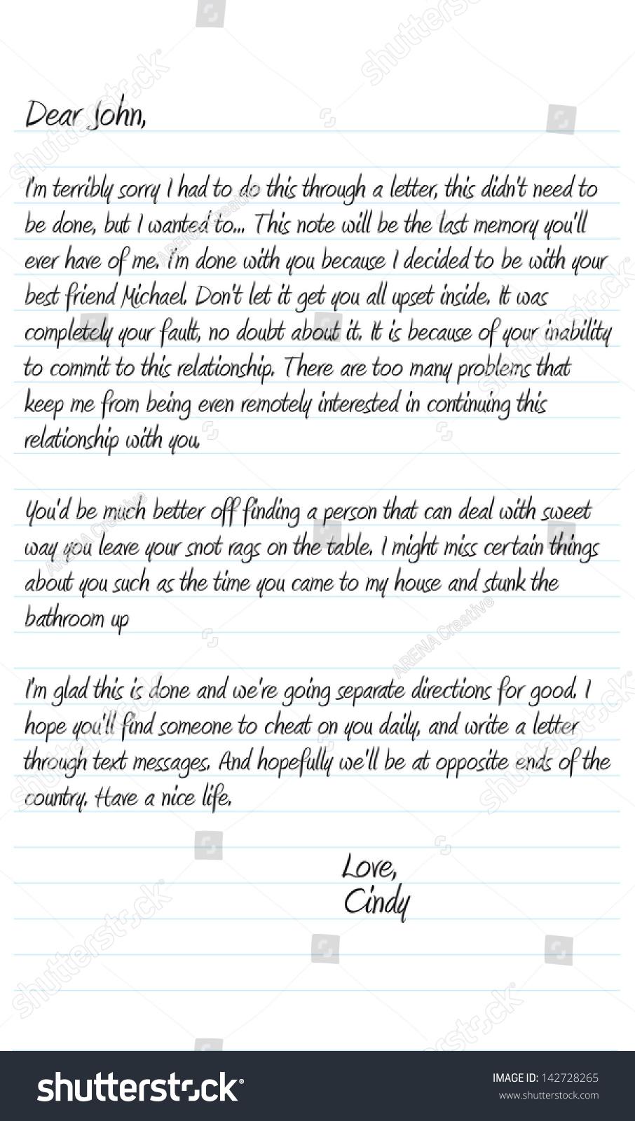 a break up letter to your boyfriend