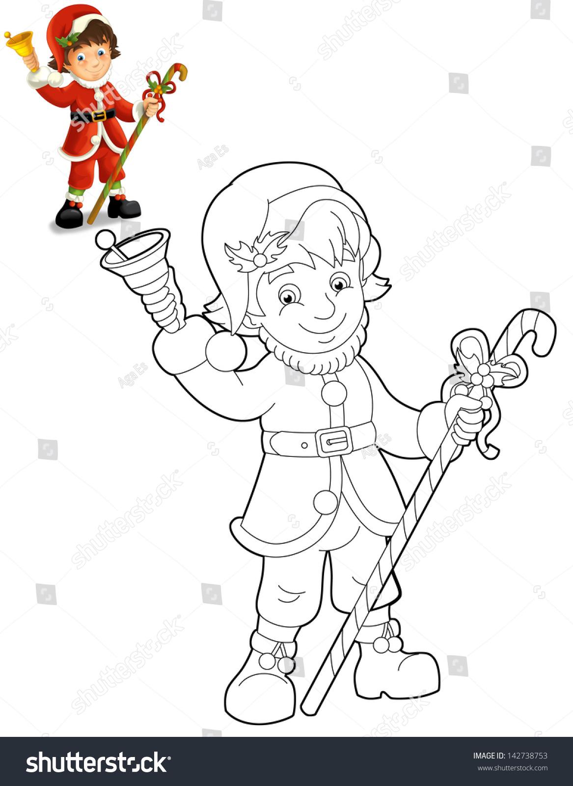 Coloring Page Santa Claus Illustration Stock Illustration 142738753