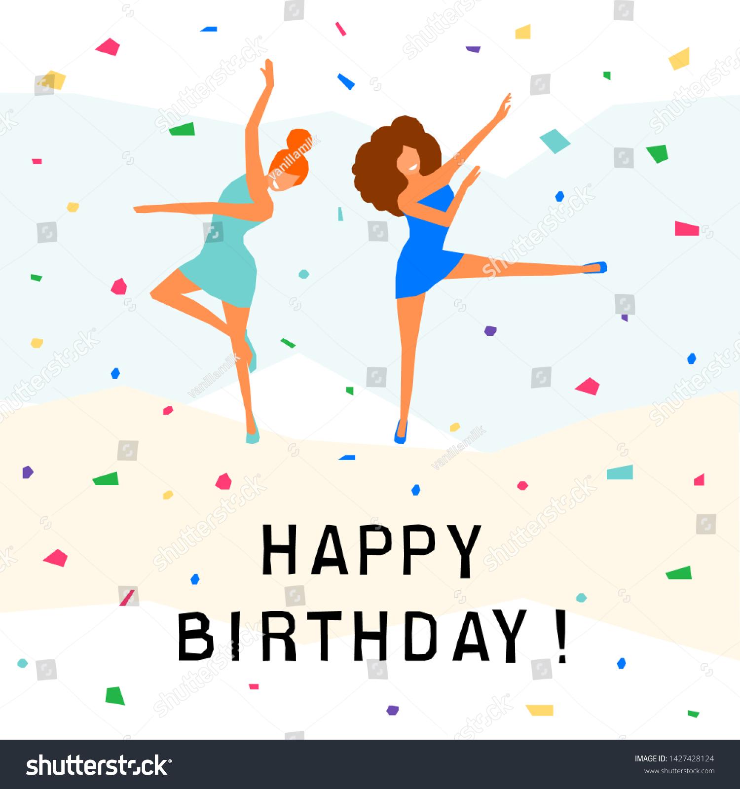 Happy Birthday Greeting Card Happy Dansing Stock Vector Royalty ...