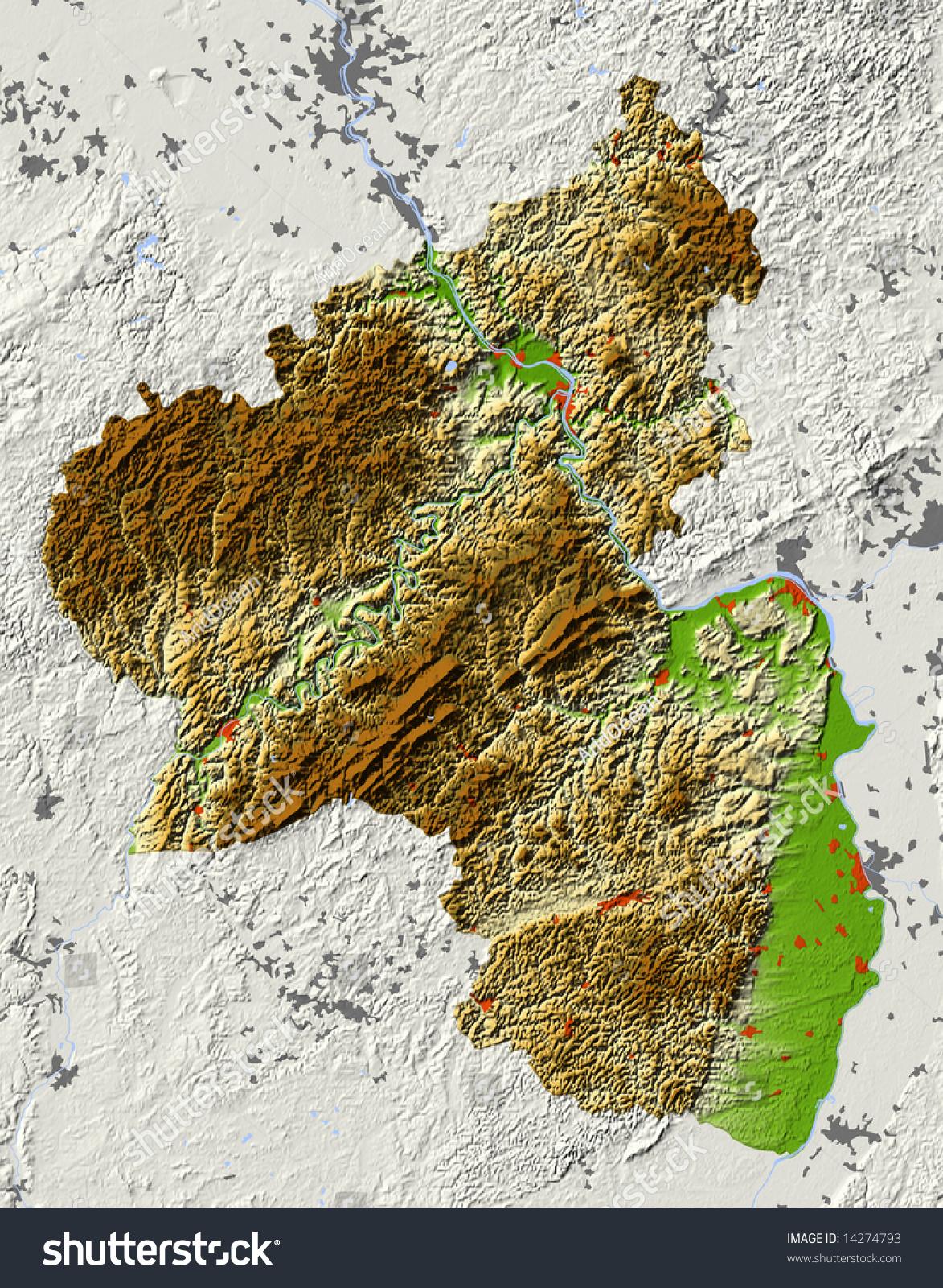 Rhinelandpalatinate Rheinlandpfalz Germany Shaded Relief Map Stock