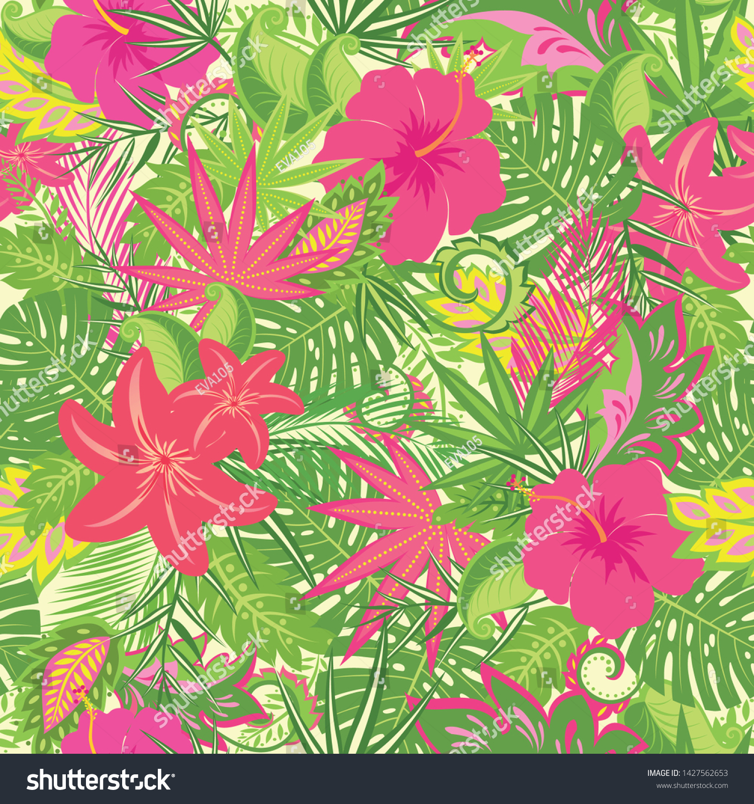 Tropical Wallpaper Lily Hibiscus Flowers Monstera Stock Vector