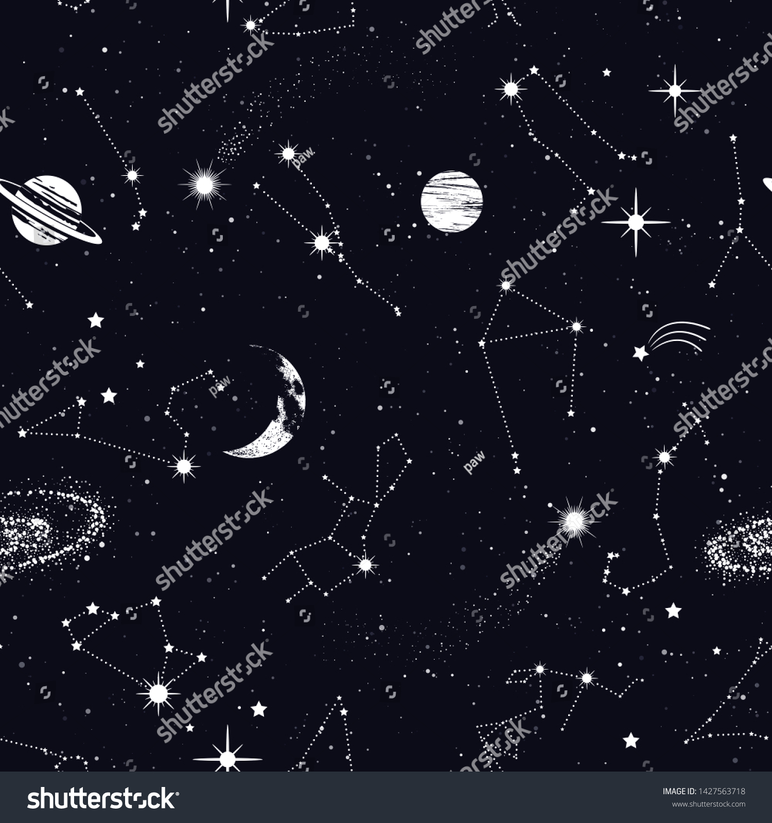 stock vector space seamless pattern with zodiac constellations galaxy stars planets in outer space texture 1427563718