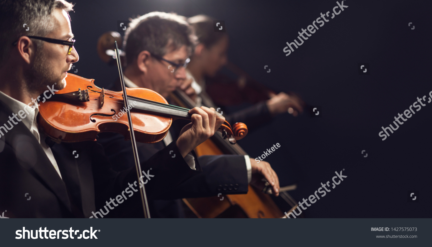 Professional symphonic orchestra performing on stage and playing a classical music concert, violinist playing in the foreground, arts and entertainment concept #1427575073