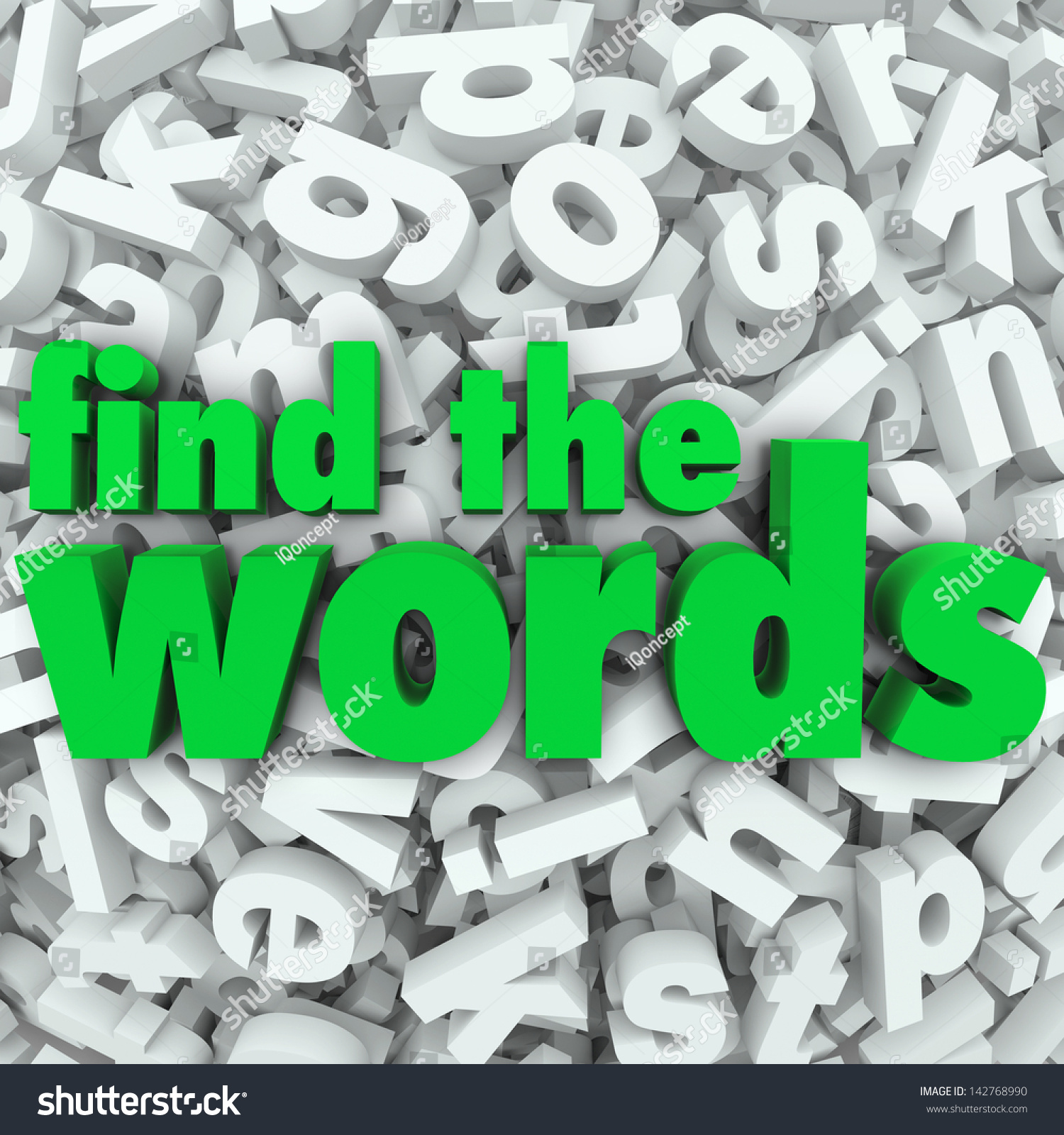 Find Words Green Letters On Background Stock Illustration 142768990