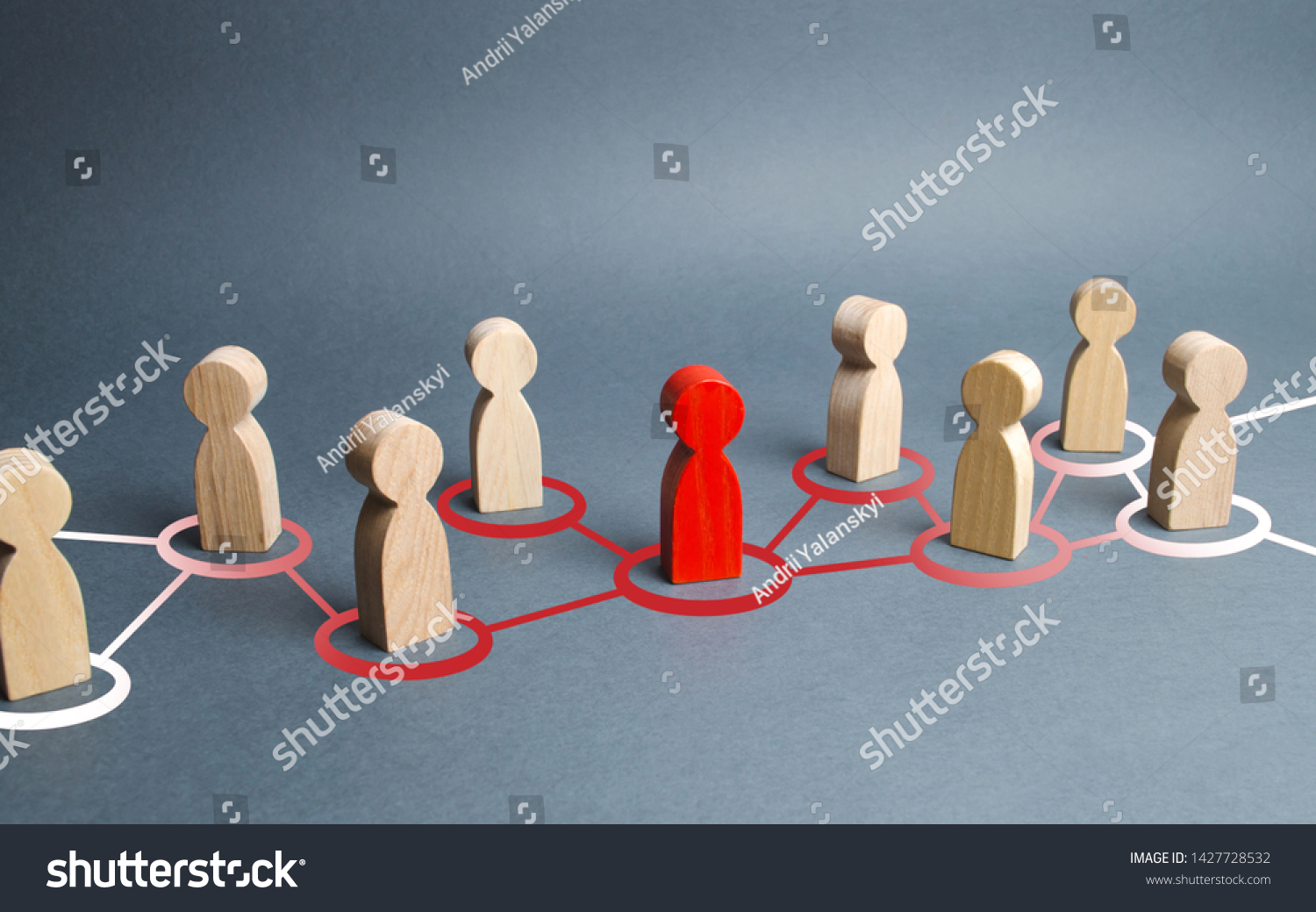 The red human figure extends its influence to the neighboring figures. Spreading ideas and thoughts, recruiting new members. Infection of other people, zero patient. Leader and leadership, new team. #1427728532