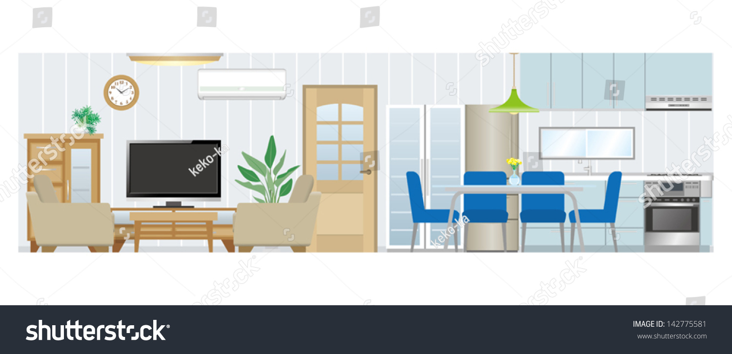 Living Room And Kitchen Living Room Dining Room Kitchen Stock Vector 142775581 Shutterstock