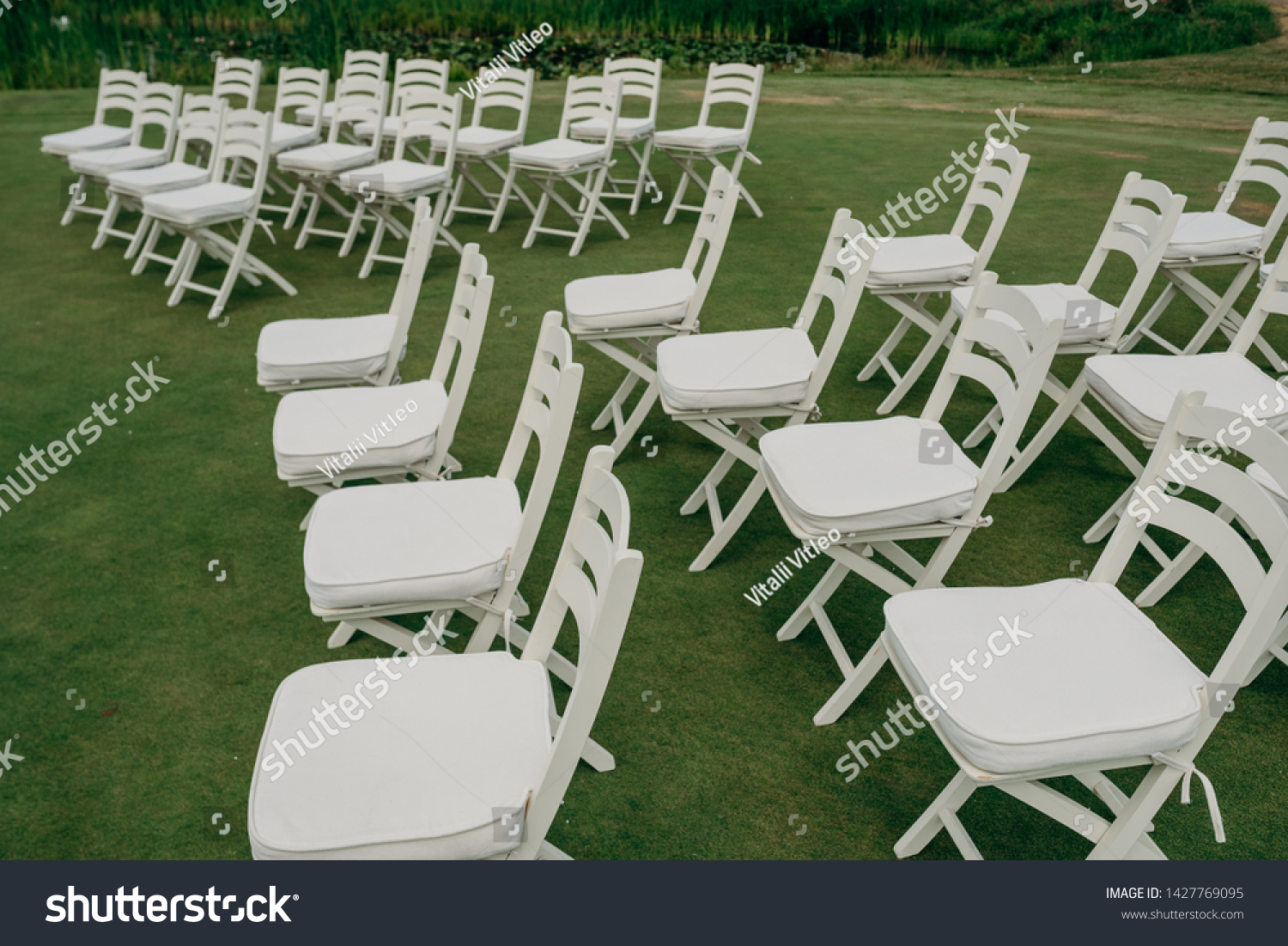 Decorating Wedding Ceremony Rows Empty White Stock Photo Edit Now 1427769095