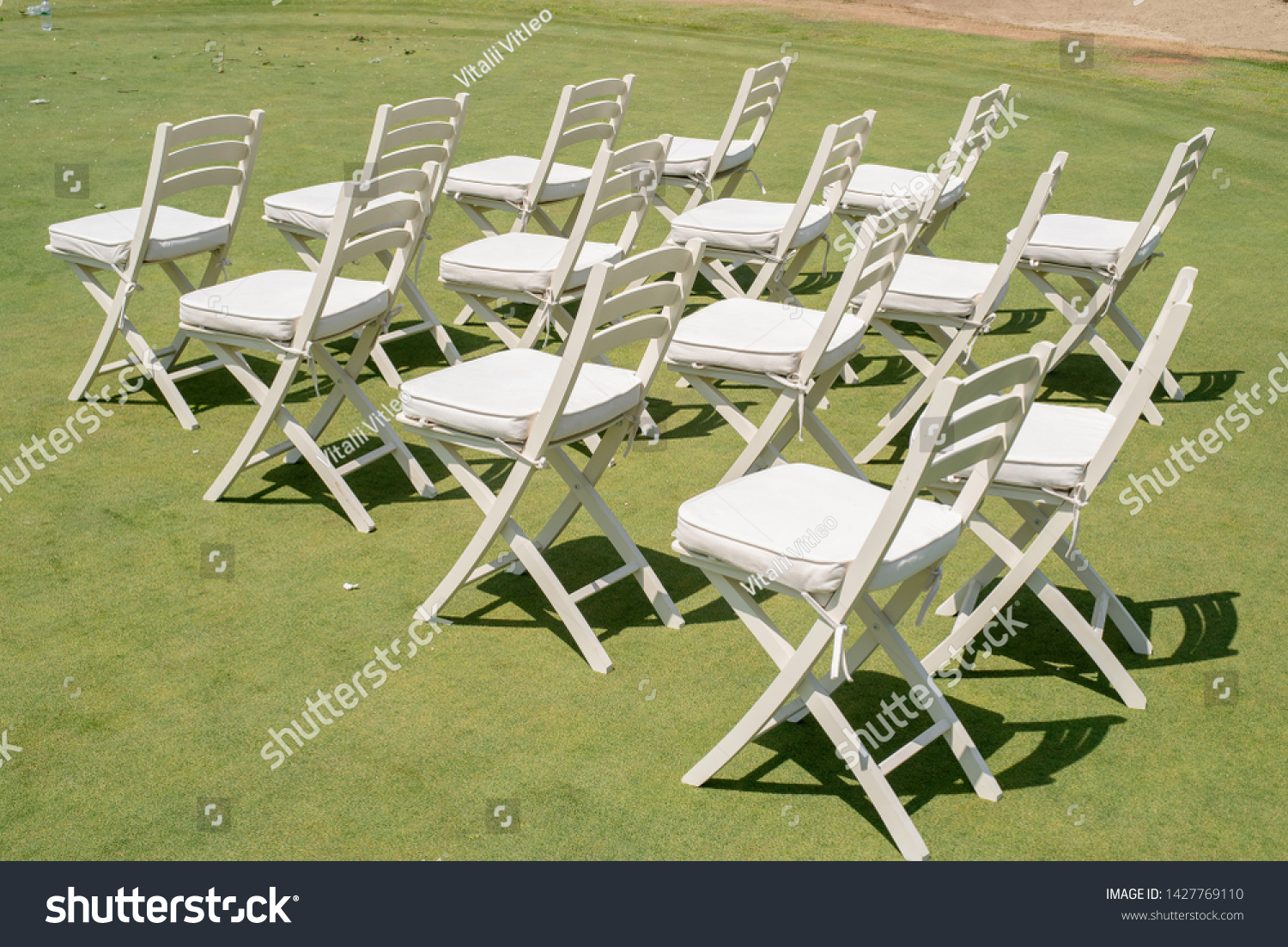 Decorating Wedding Ceremony Rows Empty White Stock Photo Edit Now 1427769110