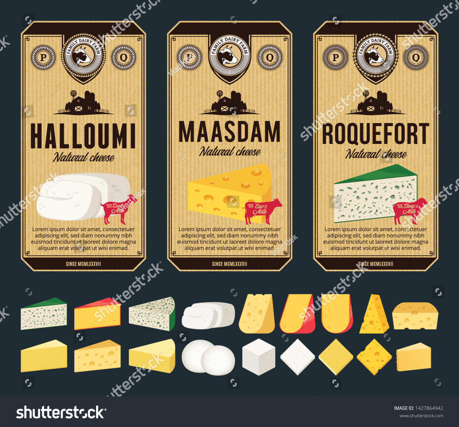Vector Cheese Vintage Labels Packaging Design Stock Vector