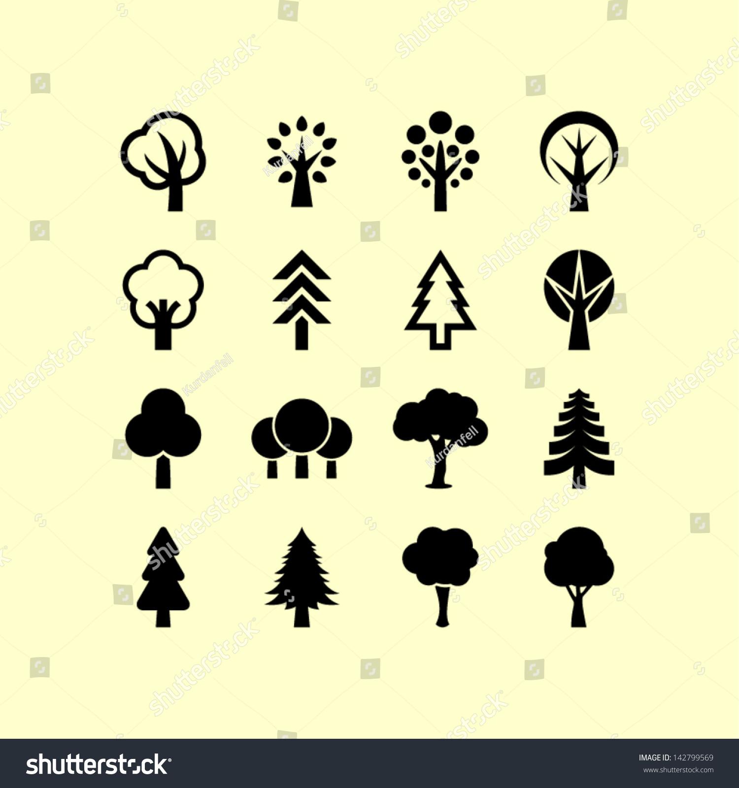 Tree Symbols Stock Vector 142799569 Shutterstock
