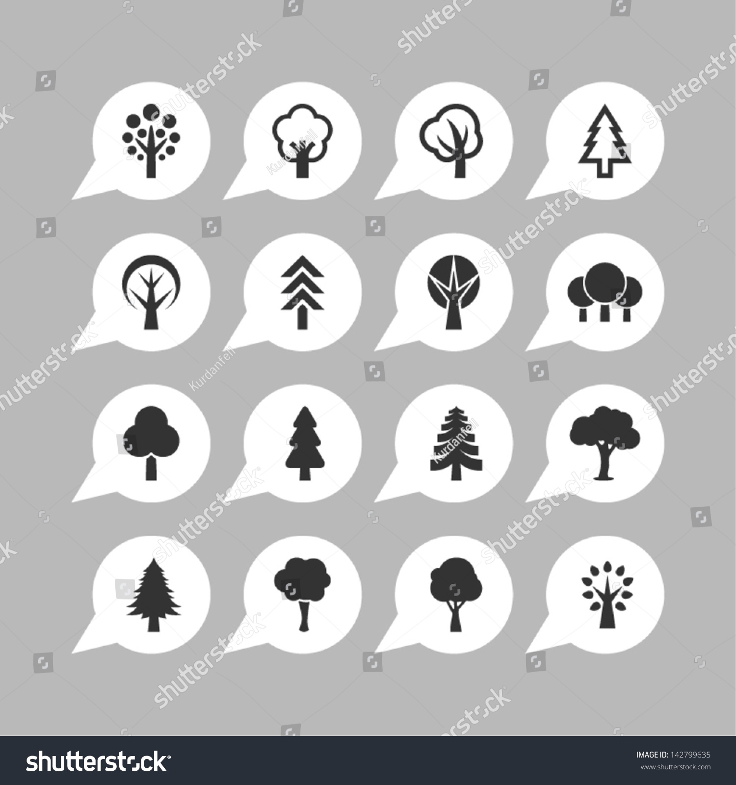 Botany Symbols Tree Icon Set Stock Vector (Royalty Free) 142799635 ...