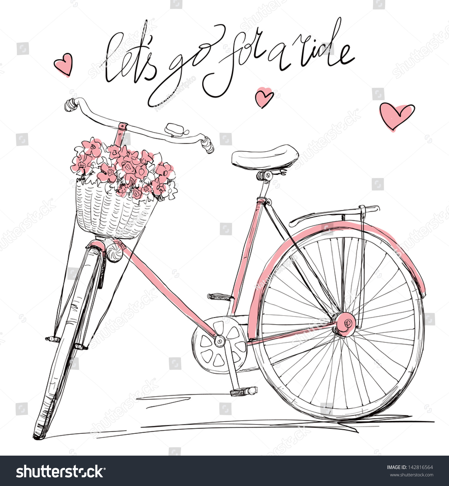 Bicycle Basket Full Flowers 142816564