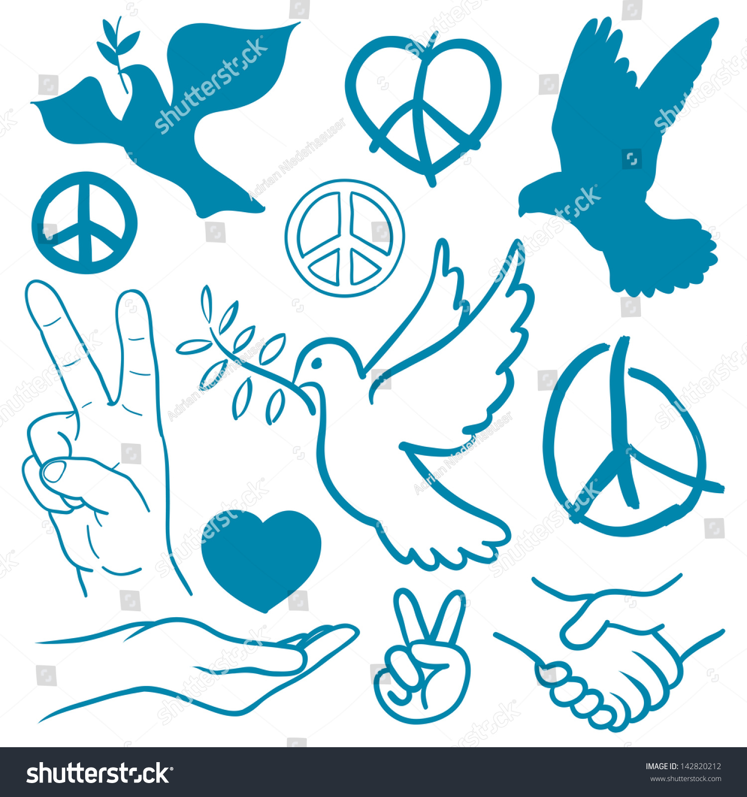 Download Collection Peace Love Themed Icons White Stock Vector ...